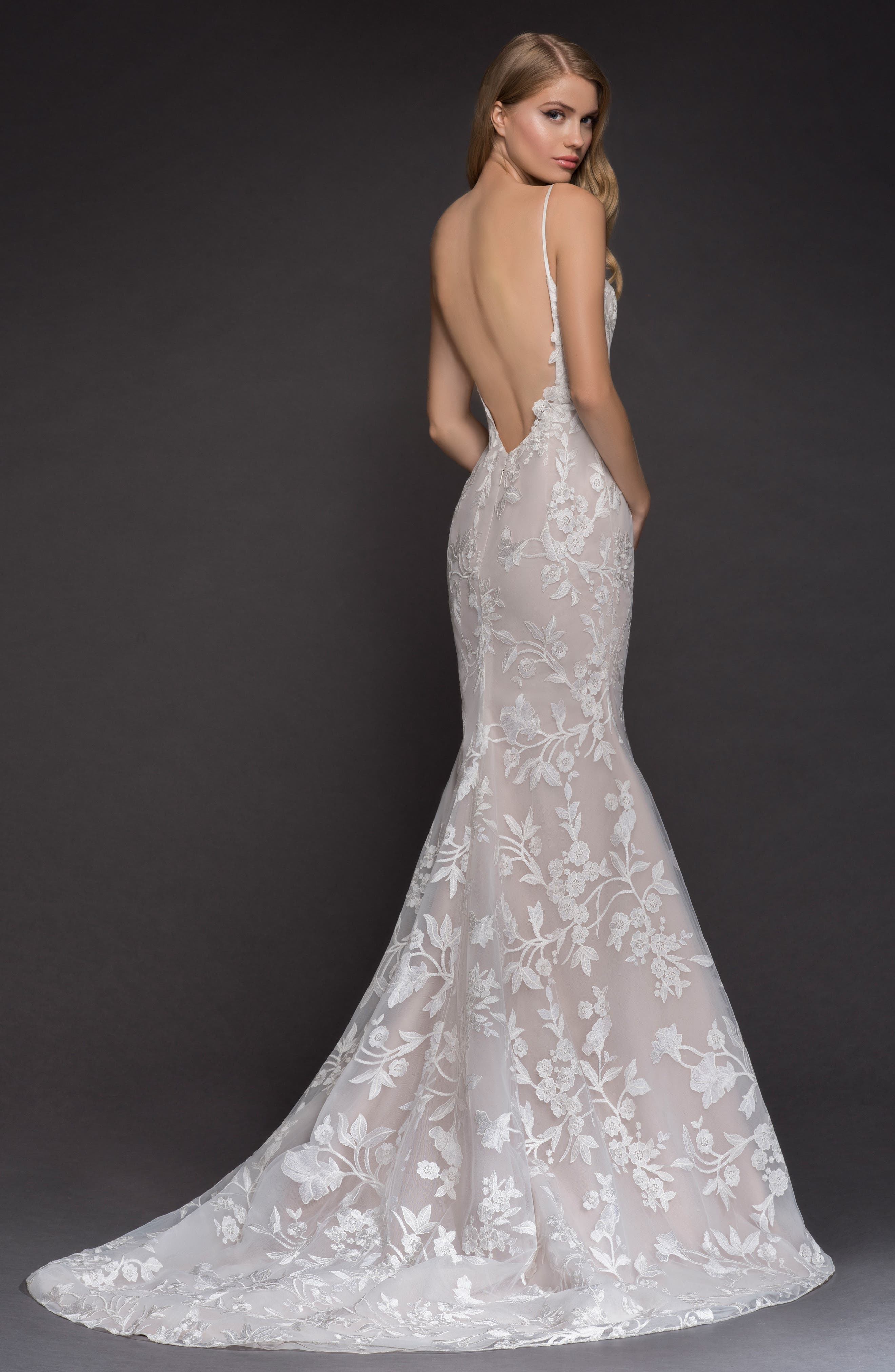 Alternate Image 2  - Blush by Hayley Paige Nessy Embroidered Trumpet Gown