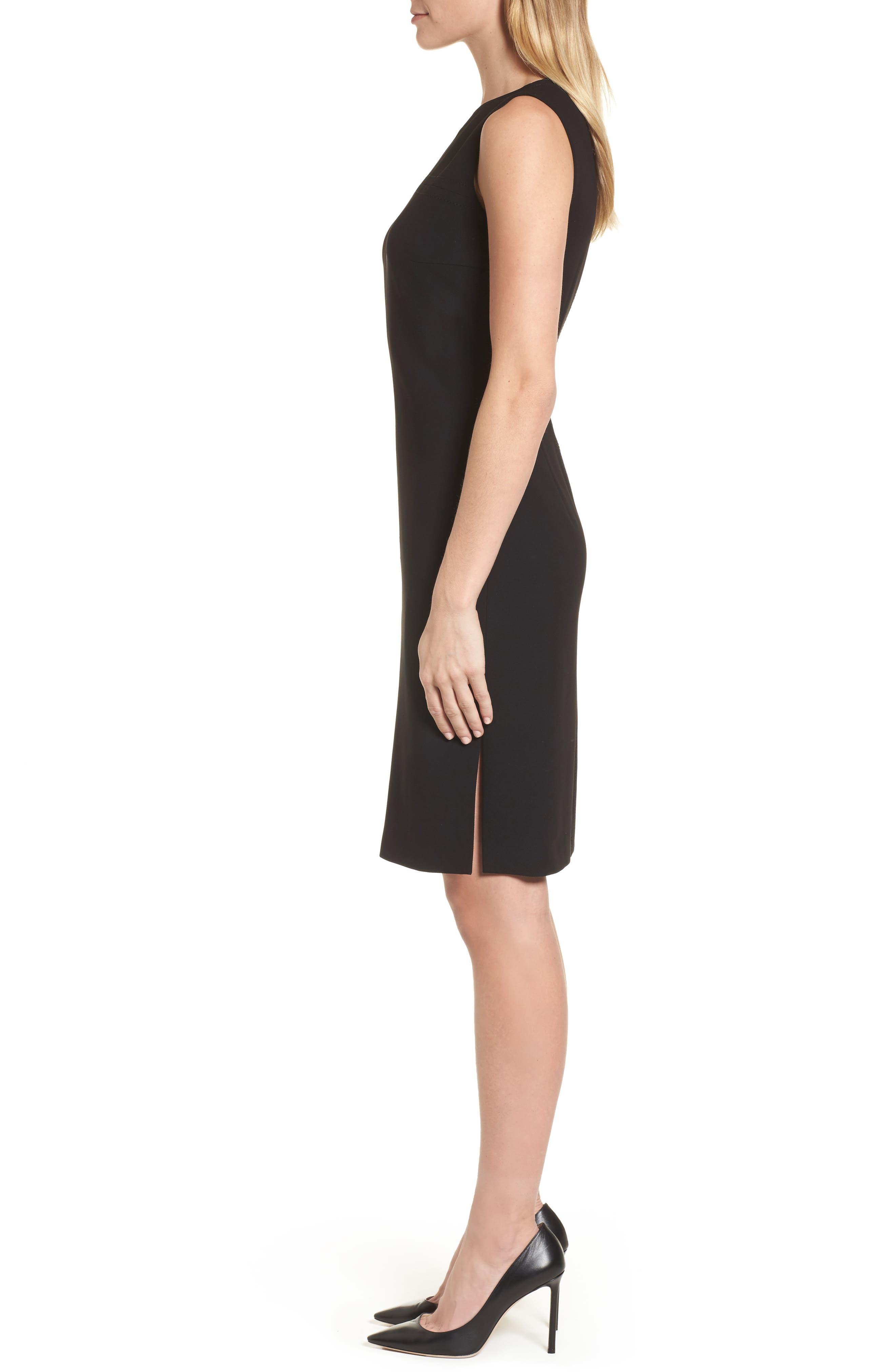 Dilamena Crepe Sheath Dress,                             Alternate thumbnail 3, color,                             Black