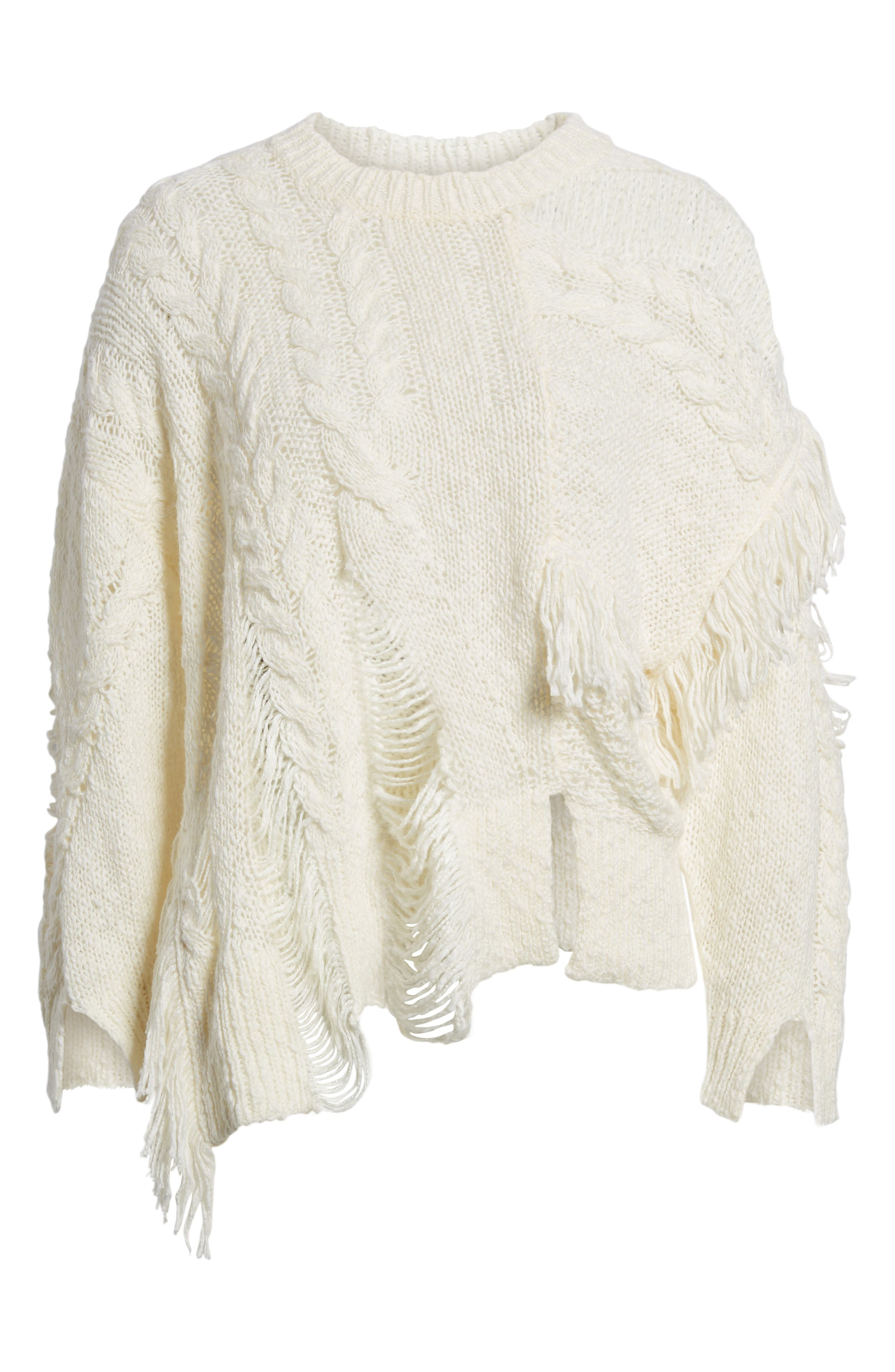 Mix Stitch Sweater,                             Alternate thumbnail 6, color,                             Ivory Egret