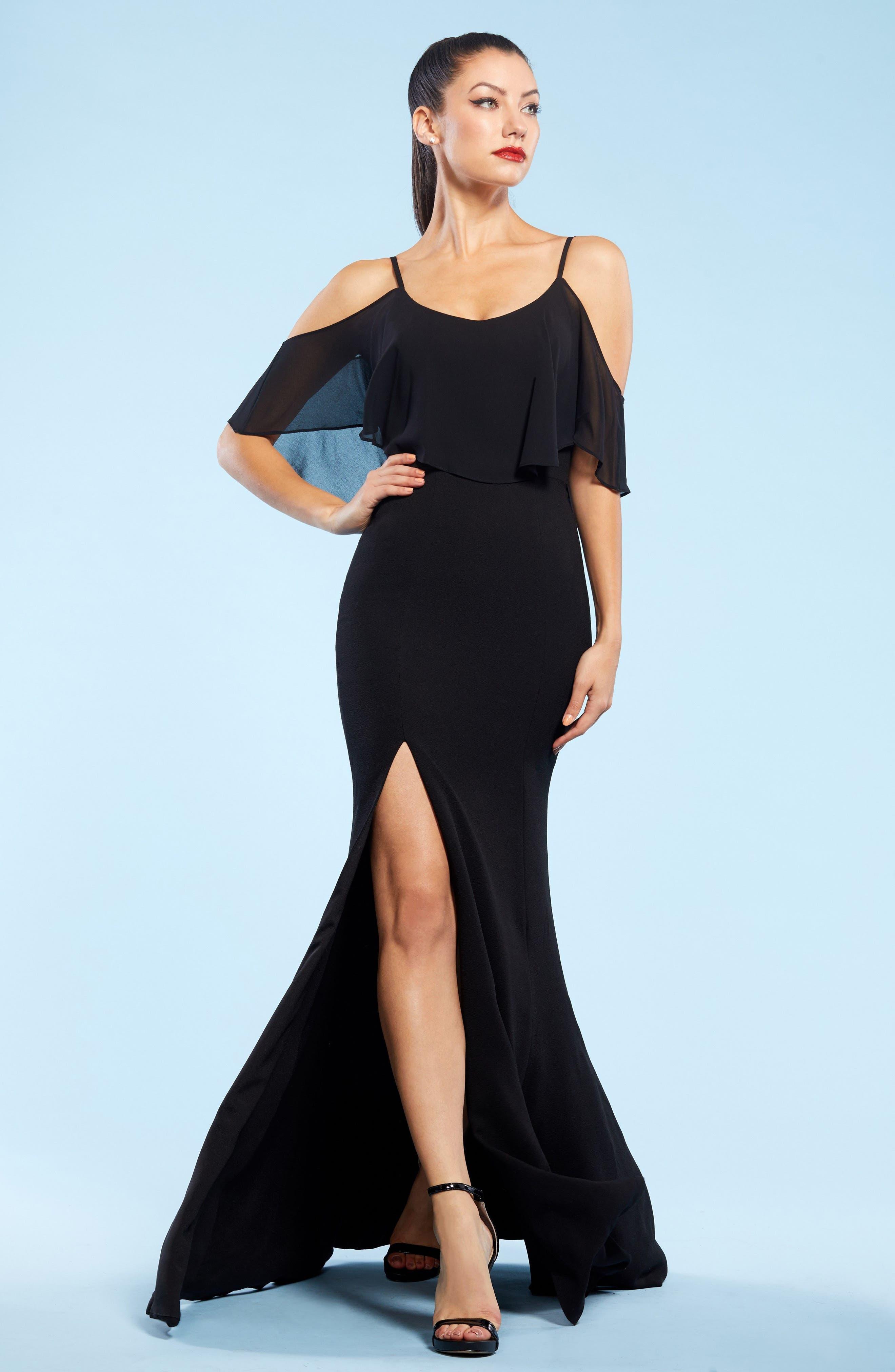 Diana Cold Shoulder Side Slit Gown,                             Alternate thumbnail 3, color,                             Black