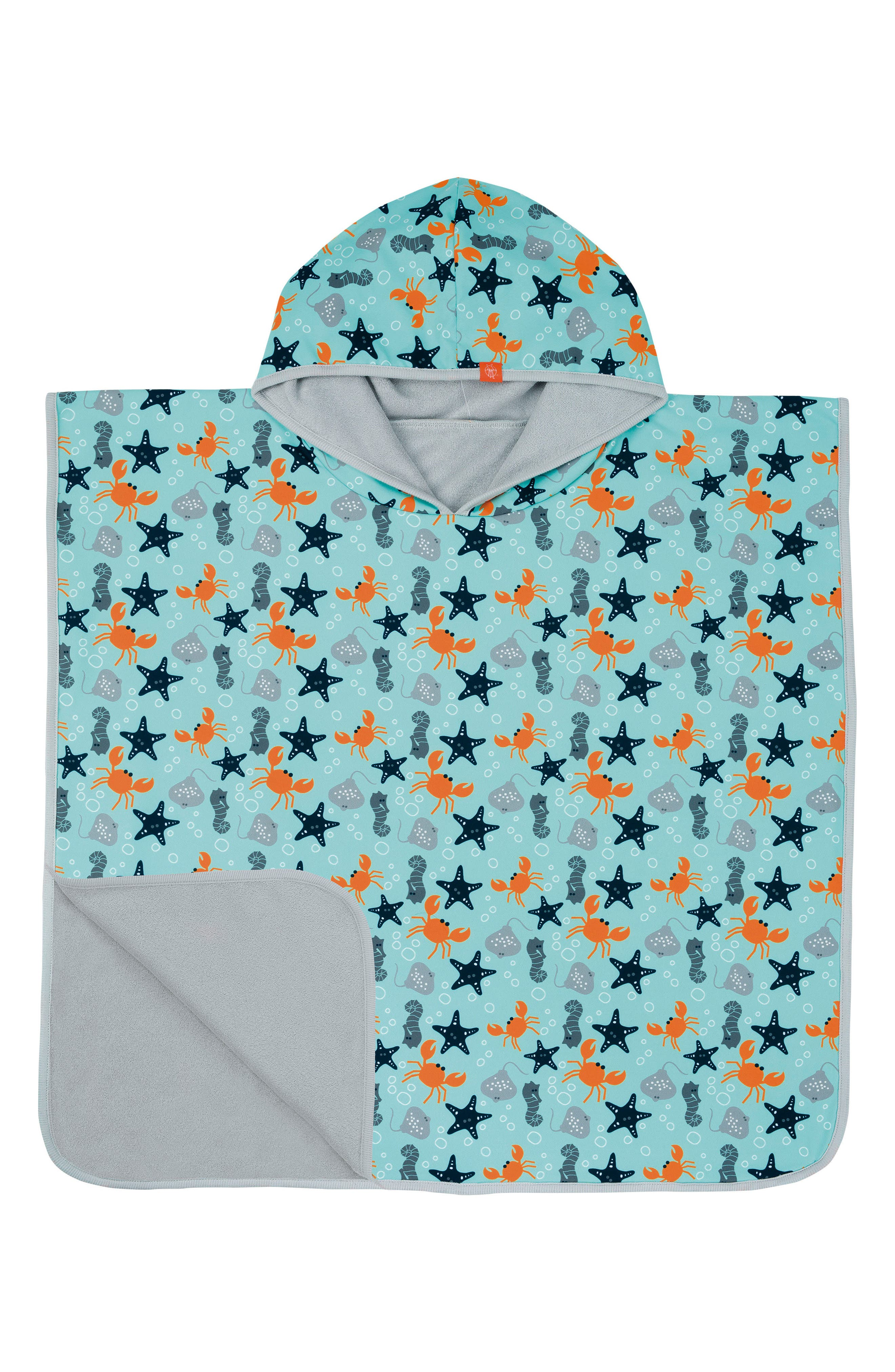 Starfish Hooded Beach Poncho,                         Main,                         color, Light Blue Orange Grey Navy