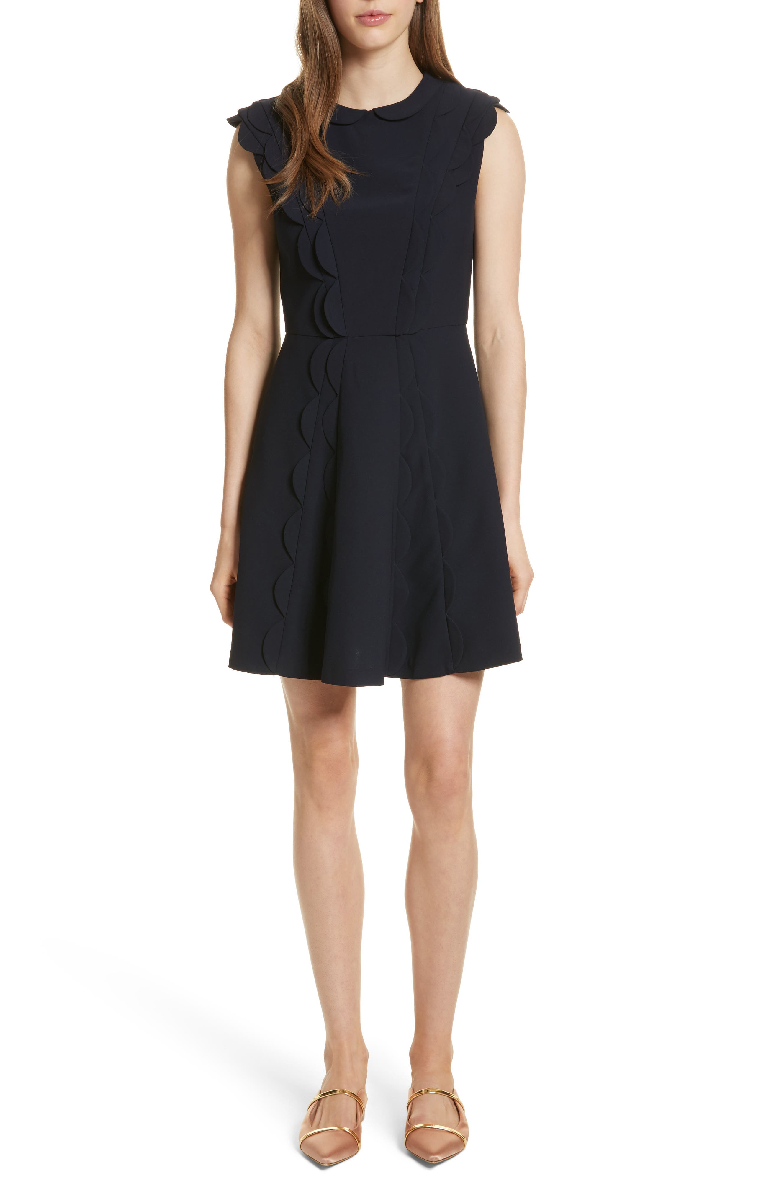 Scalloped Panel Fit & Flare Dress,                             Main thumbnail 1, color,                             Dark Blue
