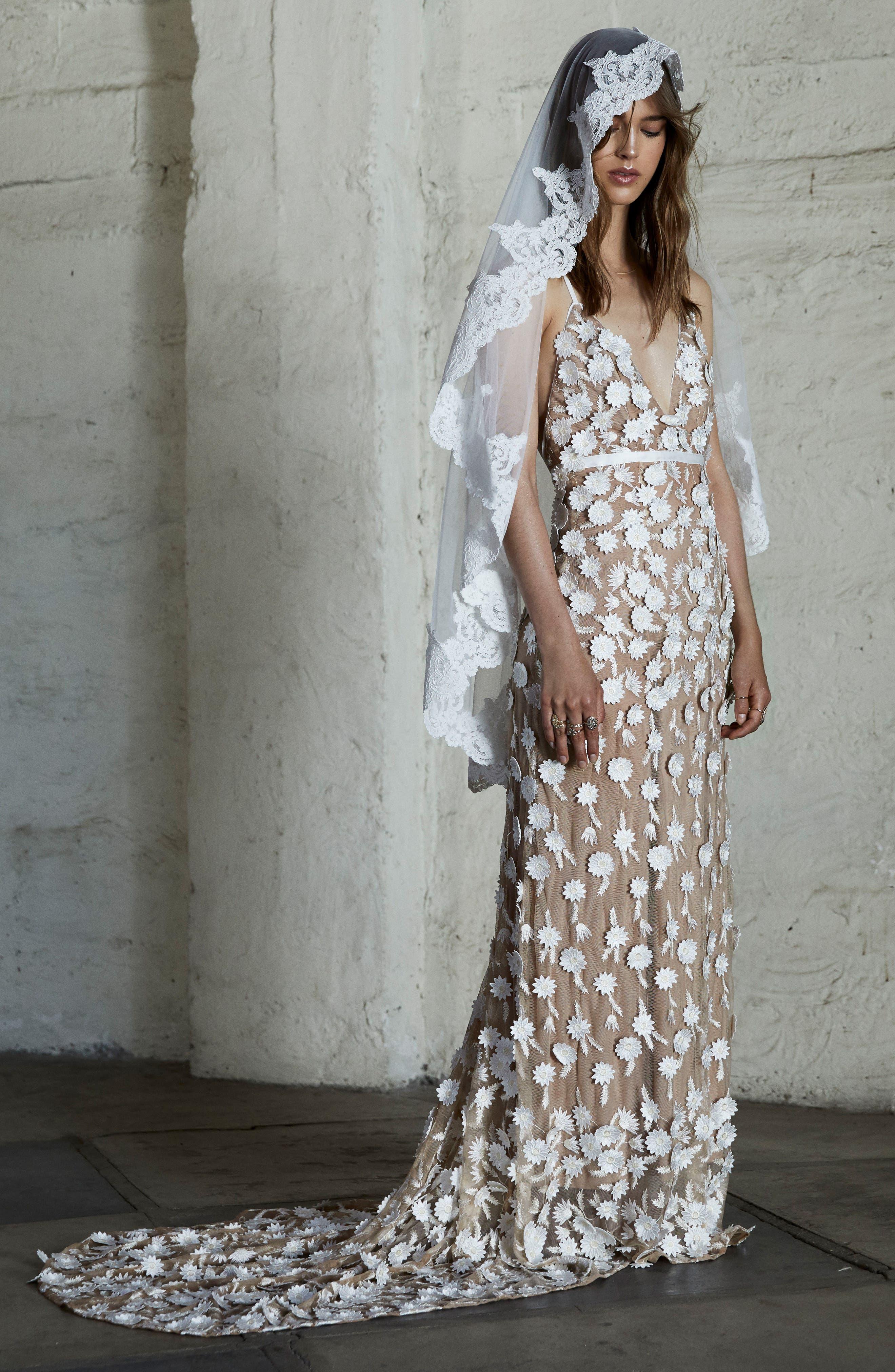 Main Image - For Love & Lemons Marguerite Floral Petal Gown