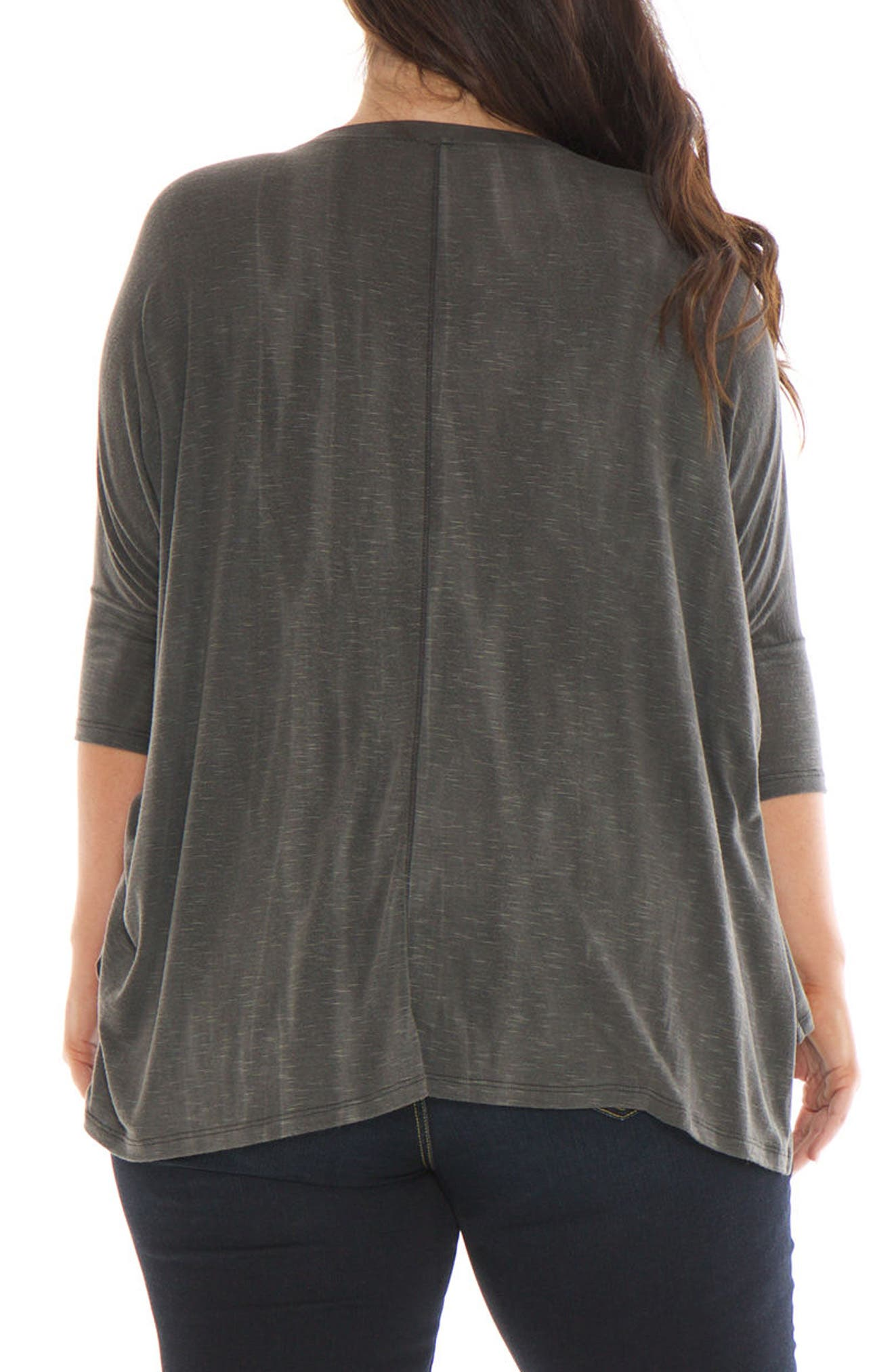 Alternate Image 2  - SLINK Jeans Oversized V-Neck Top (Plus Size)