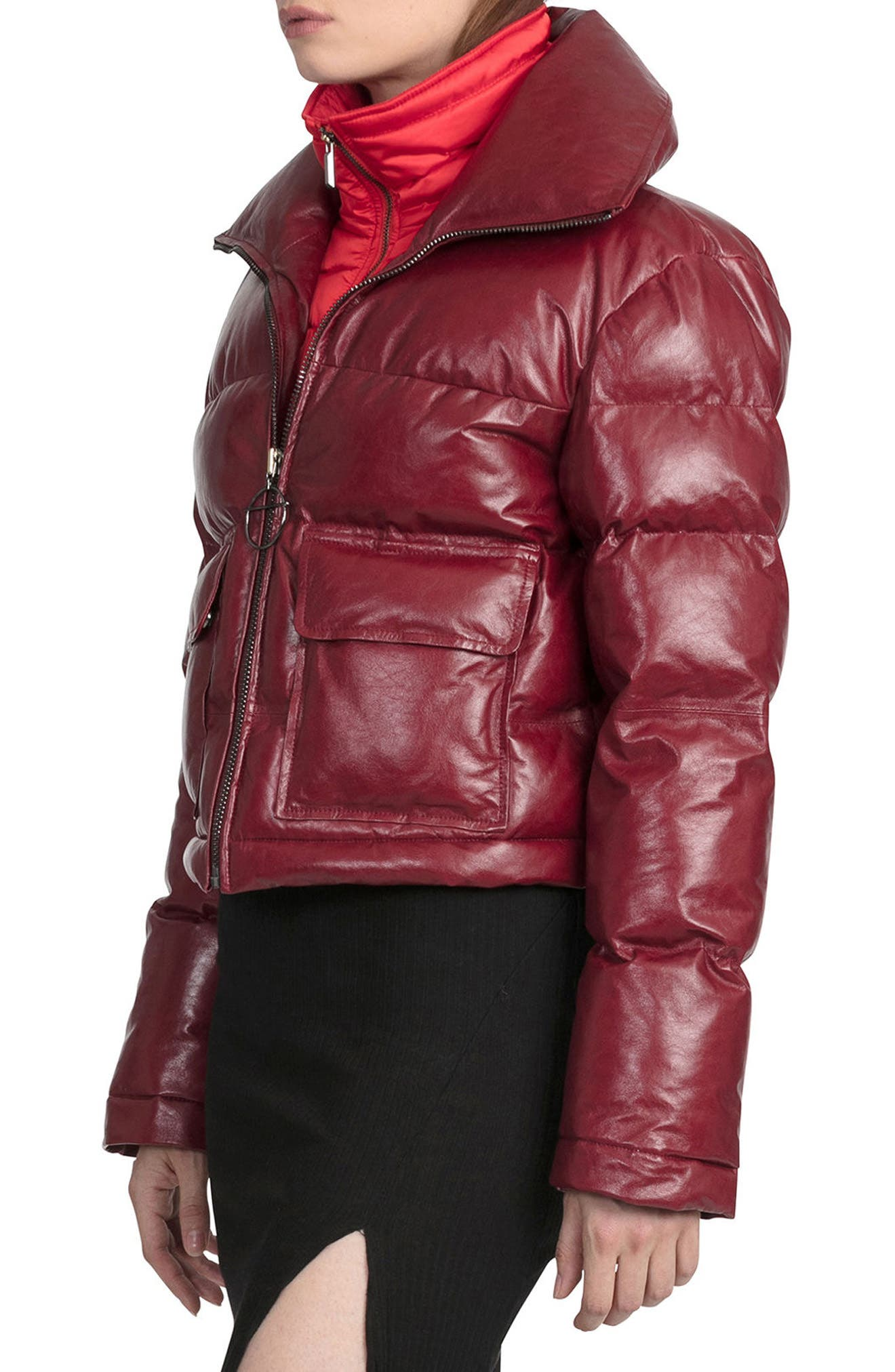 BAGATELLE.CITY The Puffer Leather Jacket with Removable Bib Lining,                             Alternate thumbnail 3, color,                             Deep Red