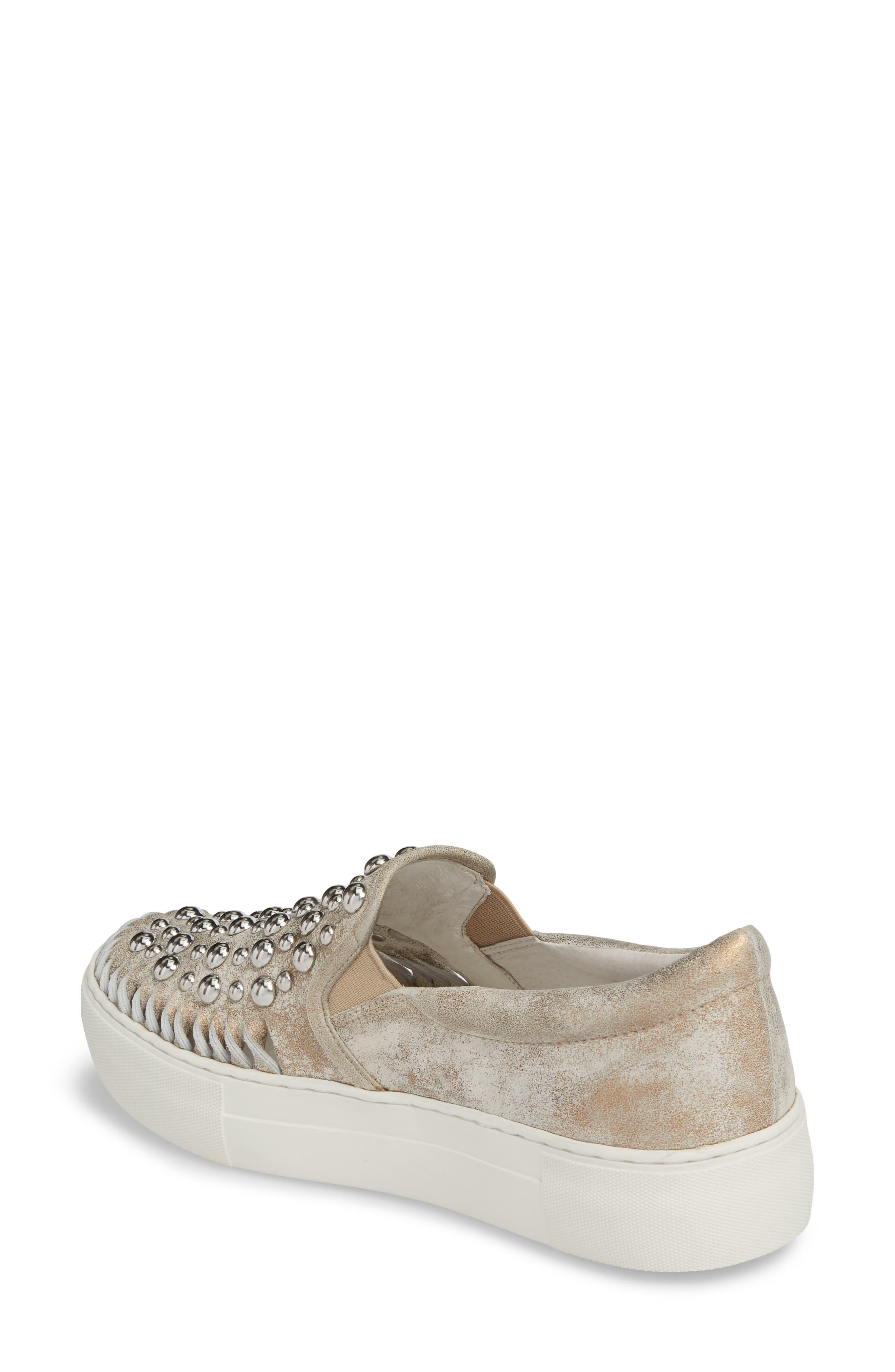 AZT Studded Slip-On Sneaker,                             Alternate thumbnail 2, color,                             Bronze Leather