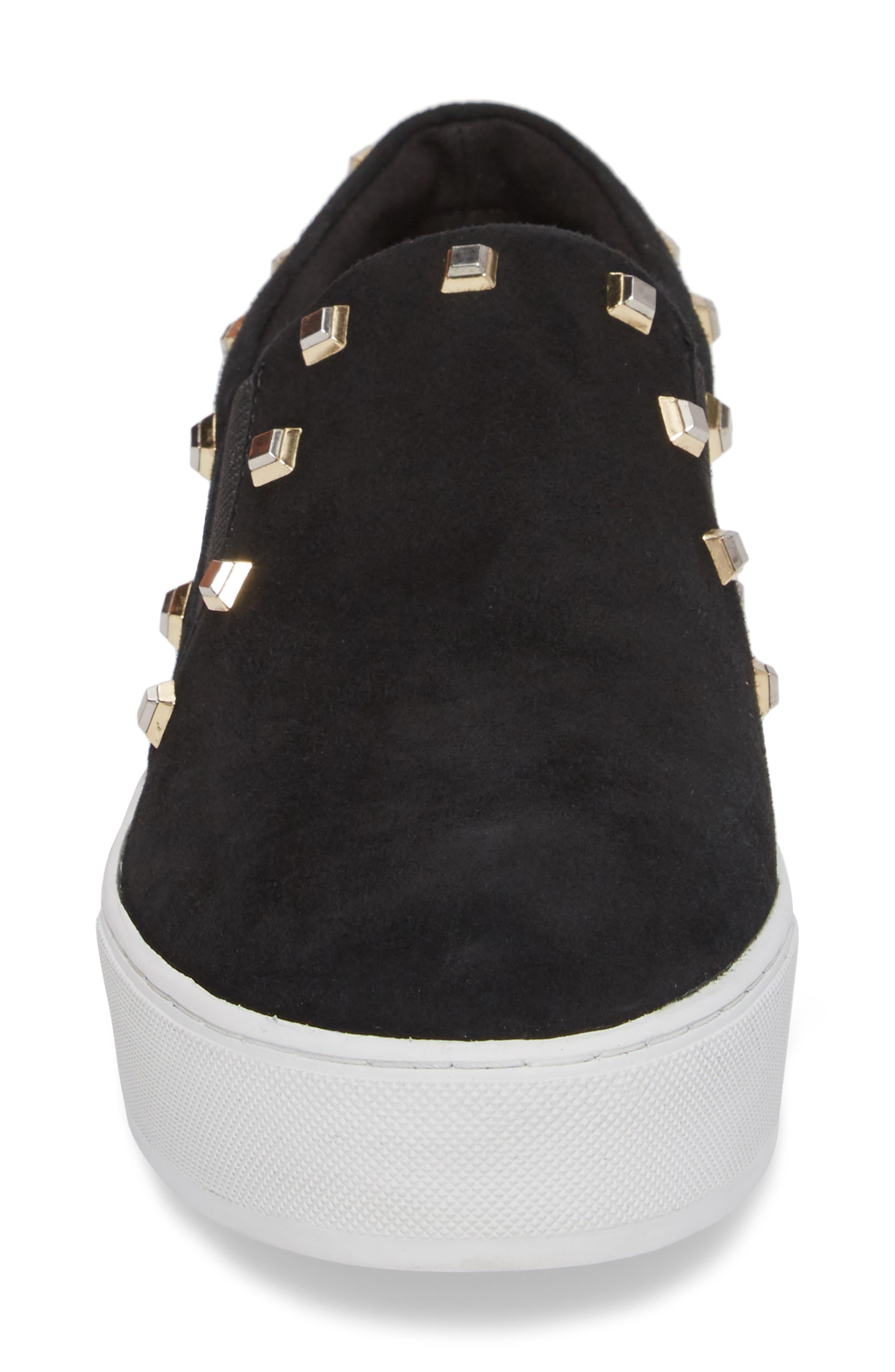 Nora Stud Platform Sneaker,                             Alternate thumbnail 4, color,                             Black Suede