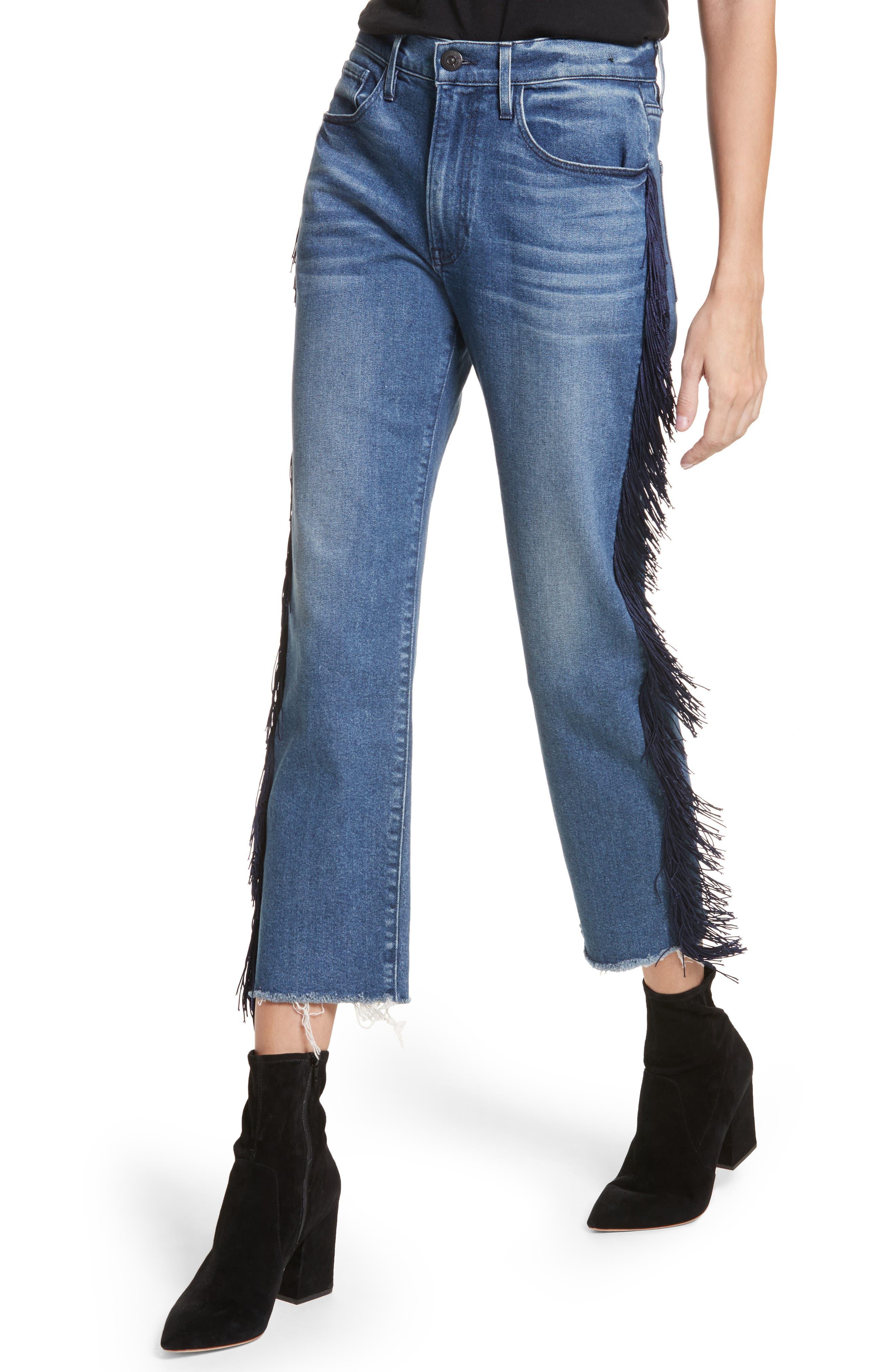 W3 Higher Ground Fringe Crop Straight Leg Jeans,                             Alternate thumbnail 5, color,                             Spanish Fringe