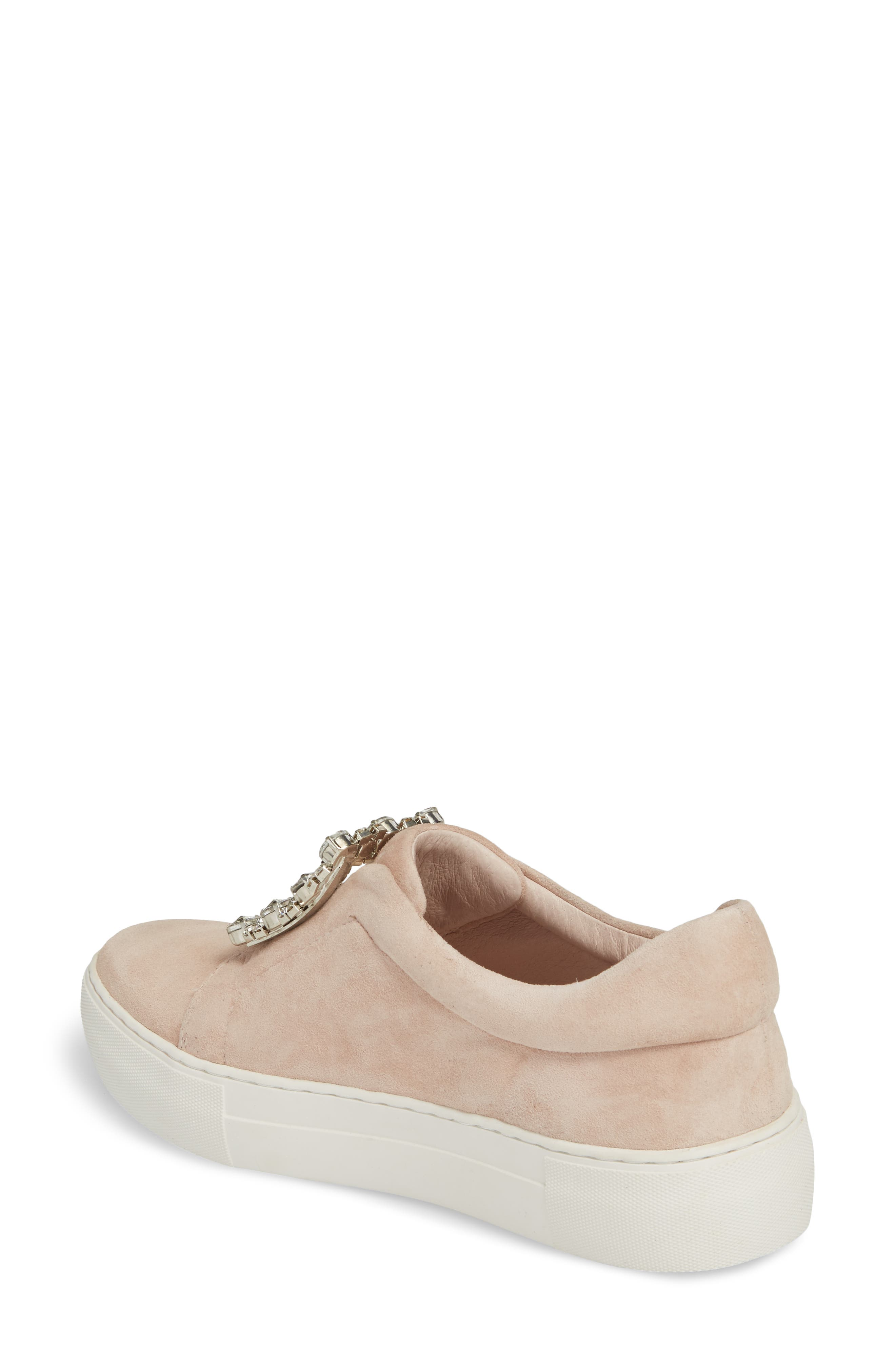 Abode Embellished Buckle Platform Sneaker,                             Alternate thumbnail 2, color,                             Nude Suede