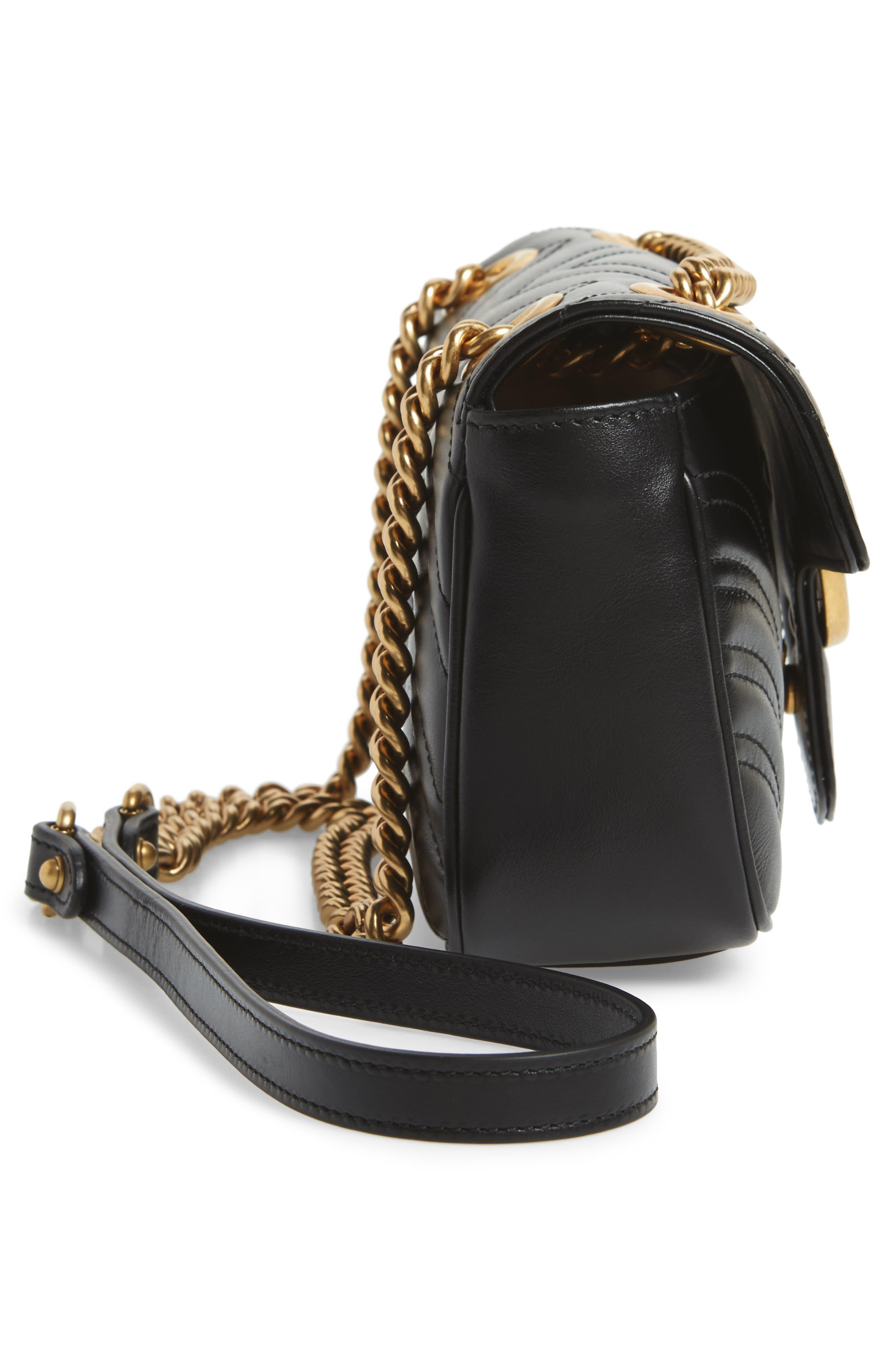 Mini GG Marmont 2.0 Matelassé Leather Shoulder Bag,                             Alternate thumbnail 5, color,                             Nero
