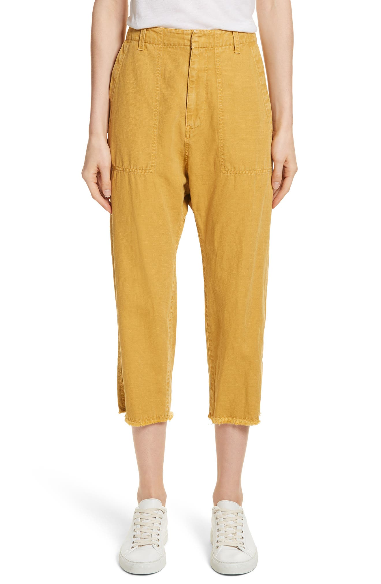 Nili Lotan Luna Cotton & Linen Twill Crop Pants