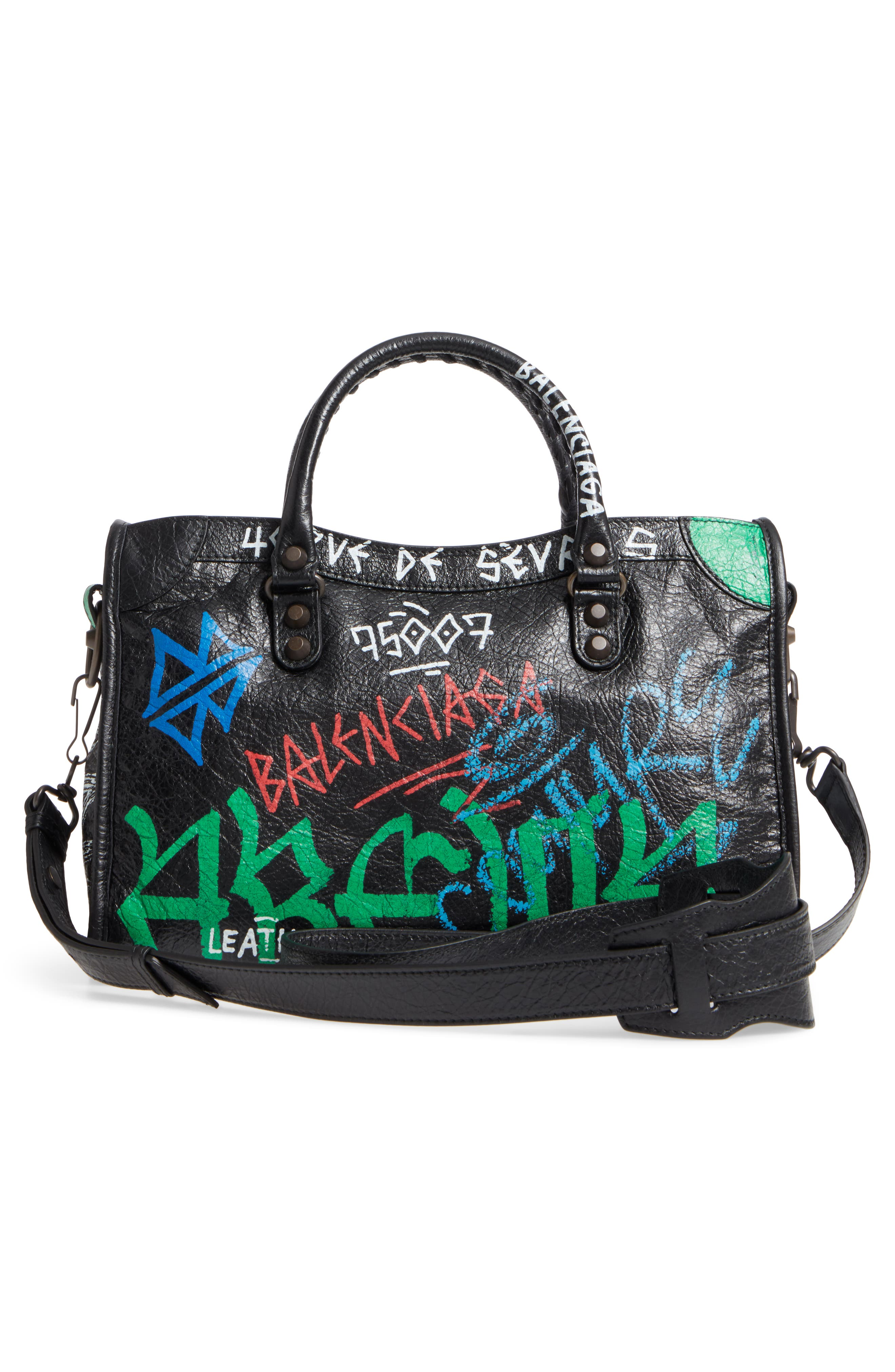Small Classic City Graffiti Leather Tote,                             Alternate thumbnail 3, color,                             Noir/ Color