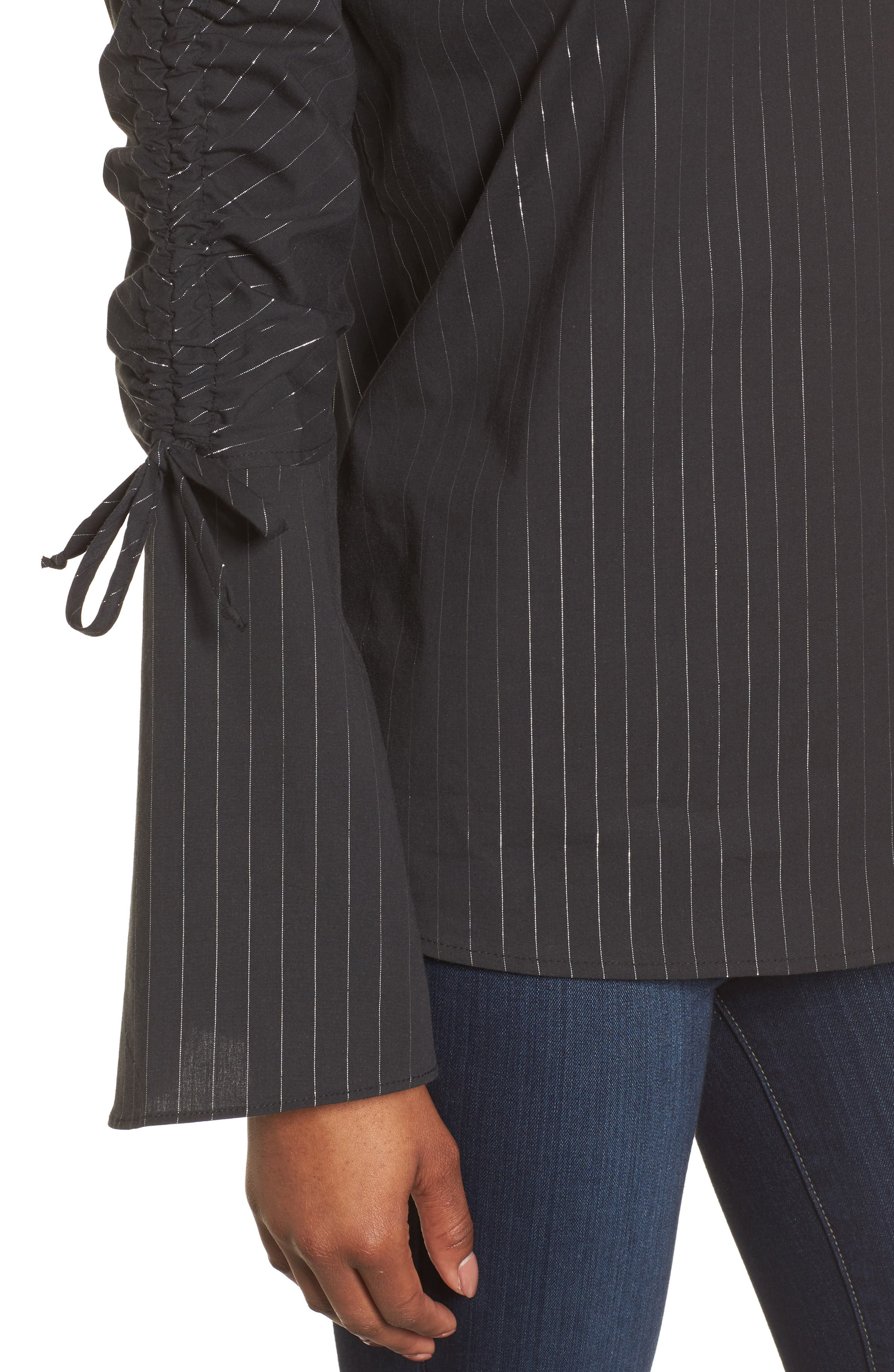 Ruched Sleeve Stripe Top,                             Alternate thumbnail 4, color,                             Black Wide Lurex Stripe