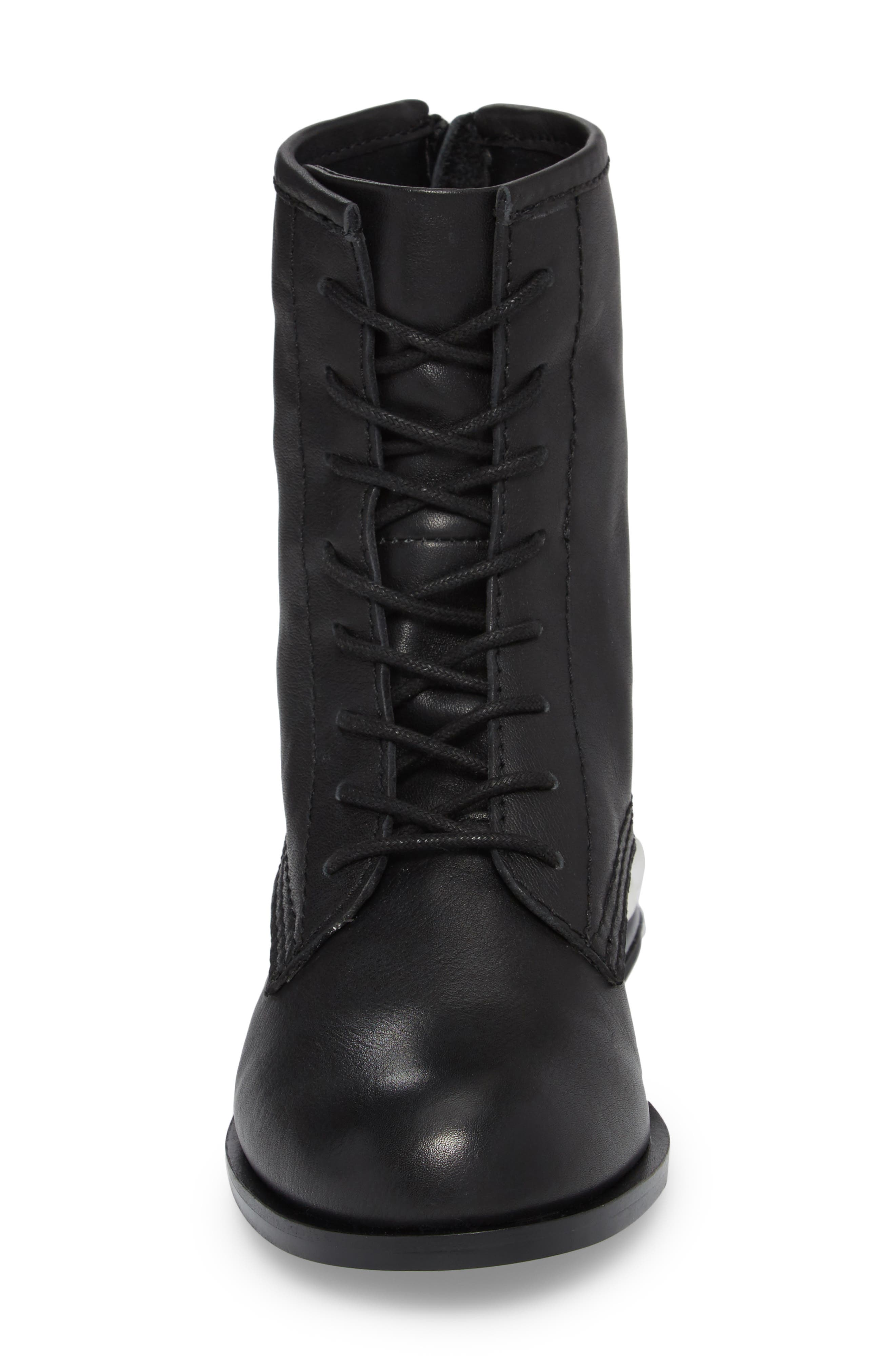 Pixy Statement Heel Boot,                             Alternate thumbnail 4, color,                             Black Leather