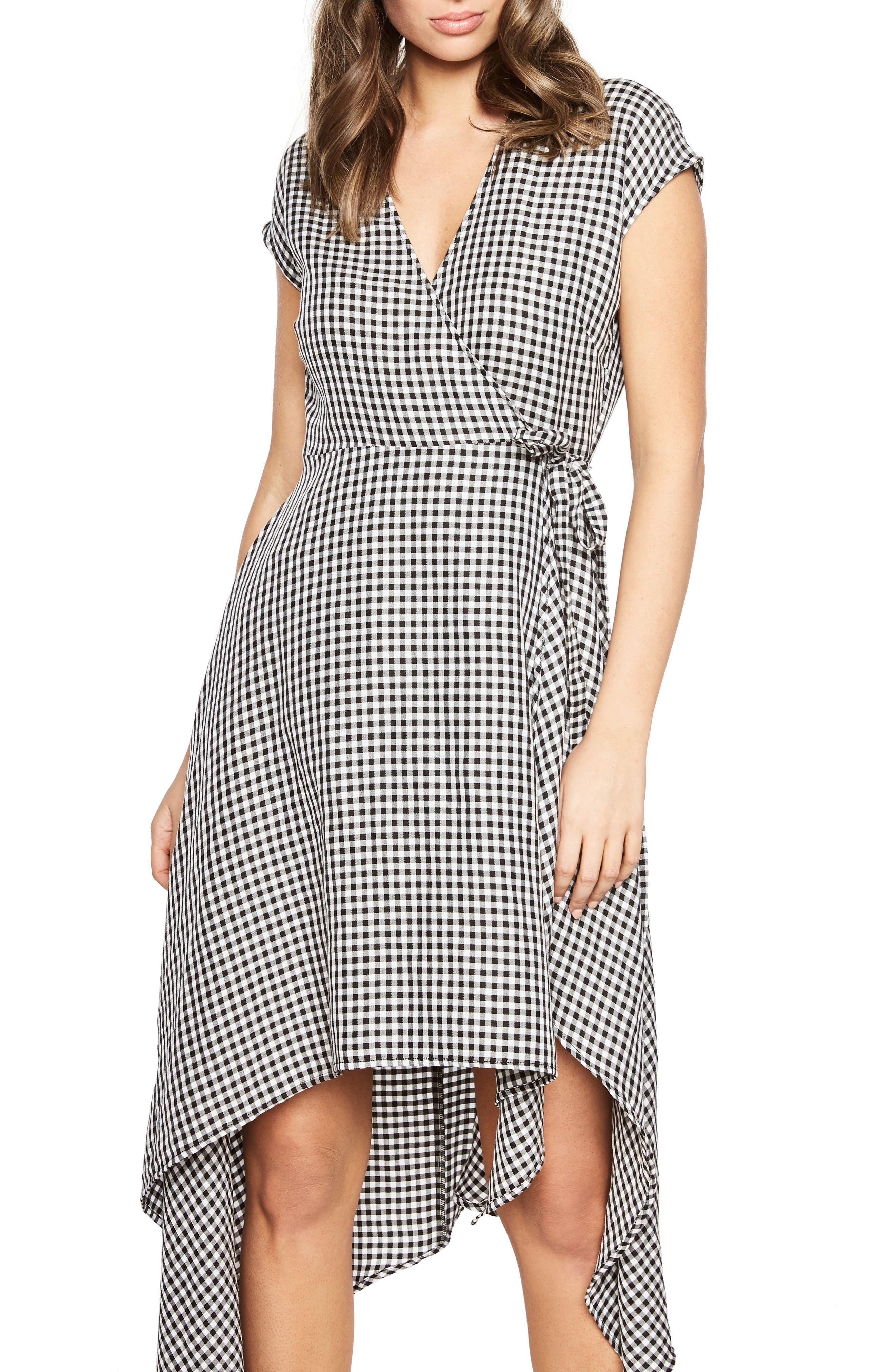 Check Asymmetrical Wrap Dress,                             Main thumbnail 1, color,                             Black/ White