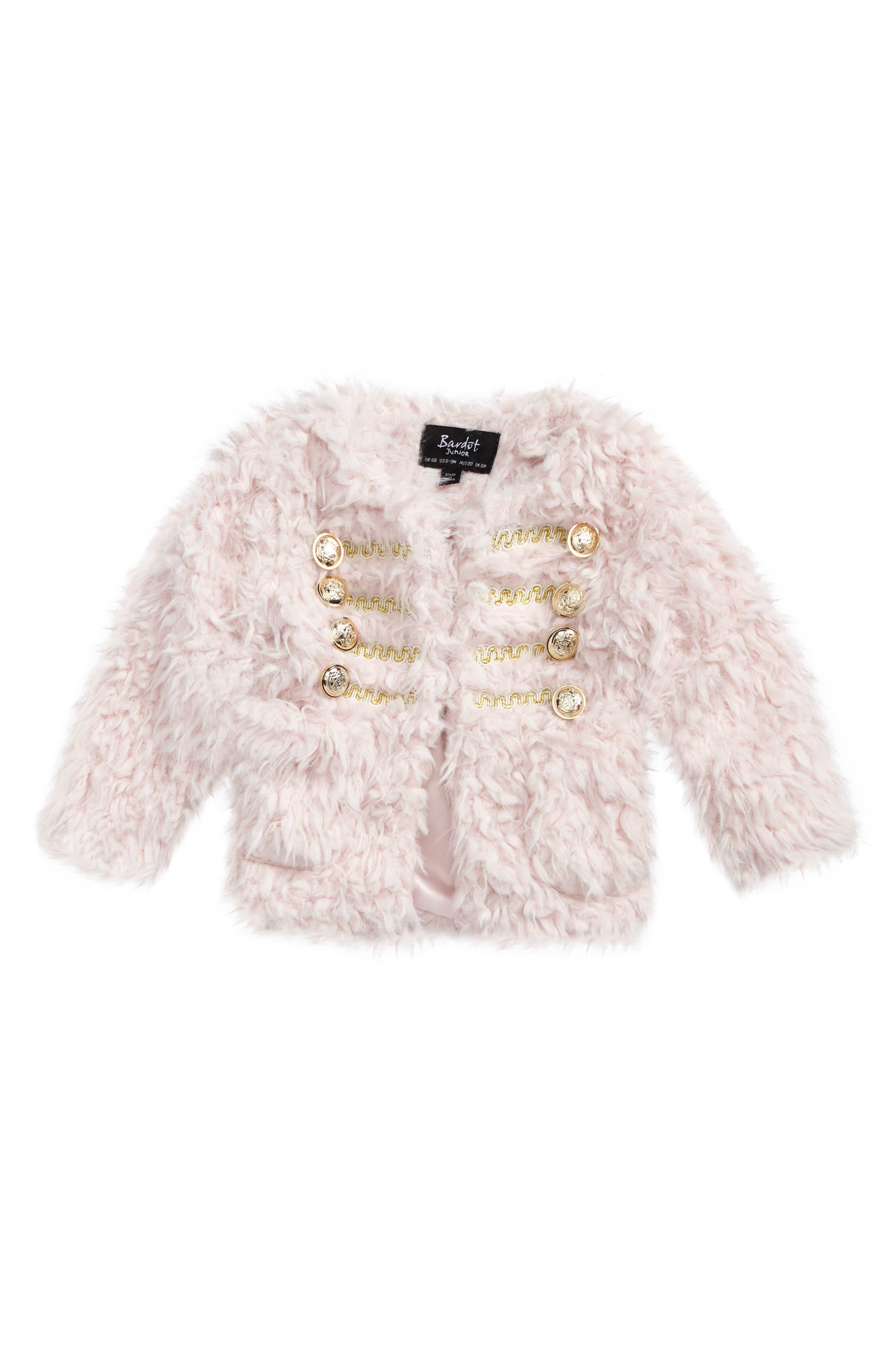 Bardot Junior Faux Fur Military Coat (Baby Girls & Toddler Girls)