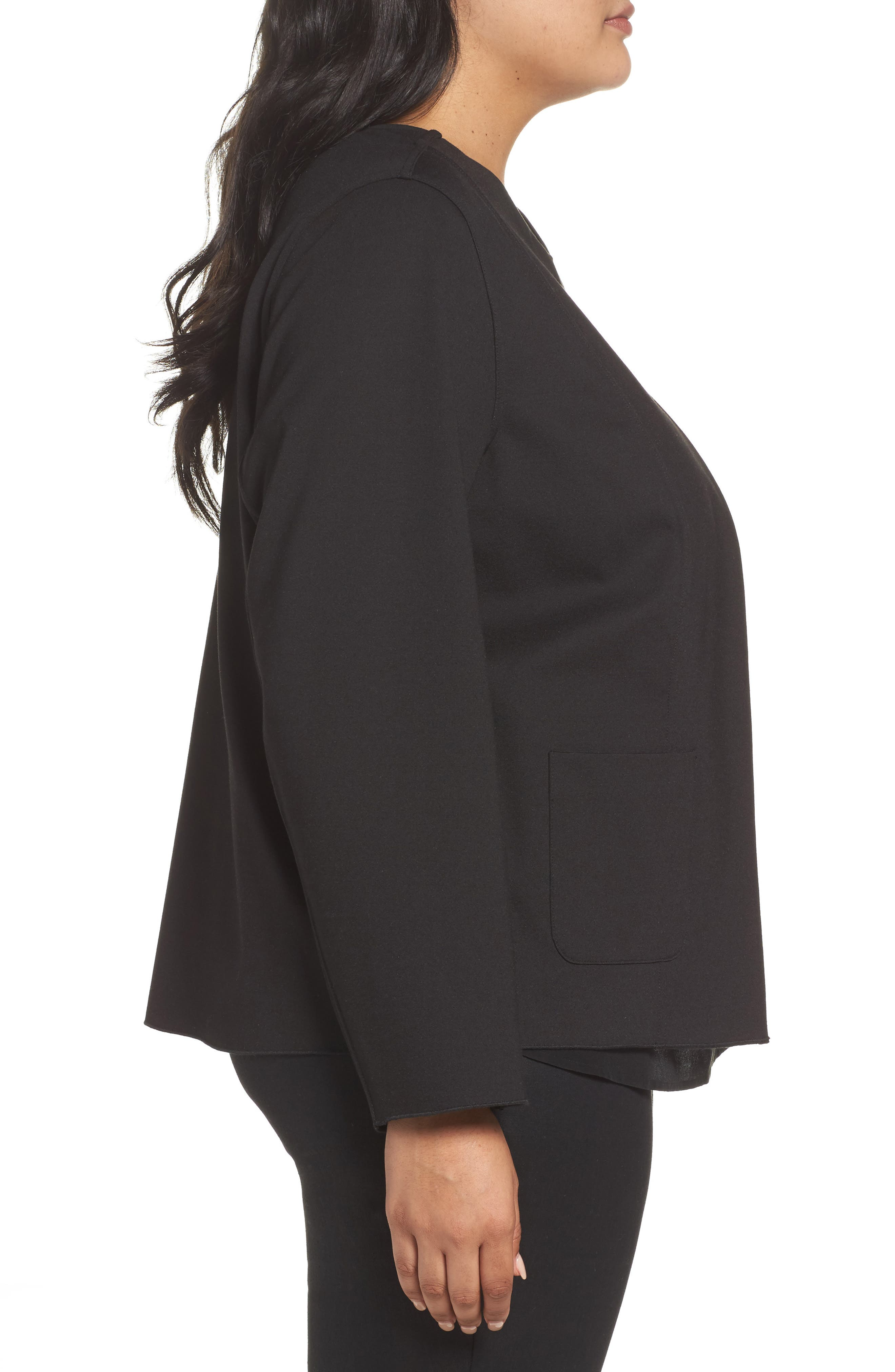 Tilly Reversible Ponte Jacket,                             Alternate thumbnail 3, color,                             Charcoal