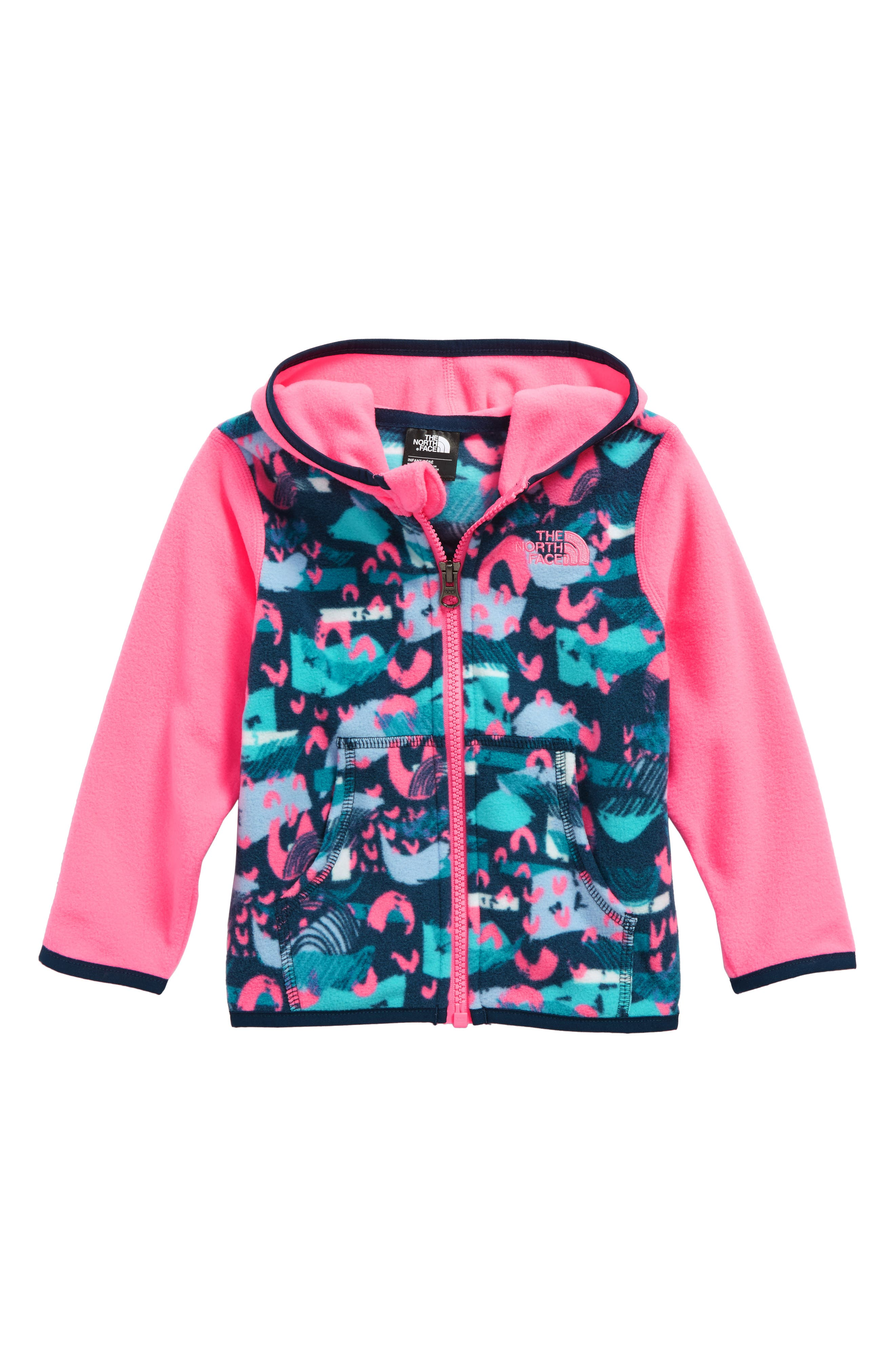 Main Image - The North Face Glacier Hooded Fleece Jacket (Baby Girls)