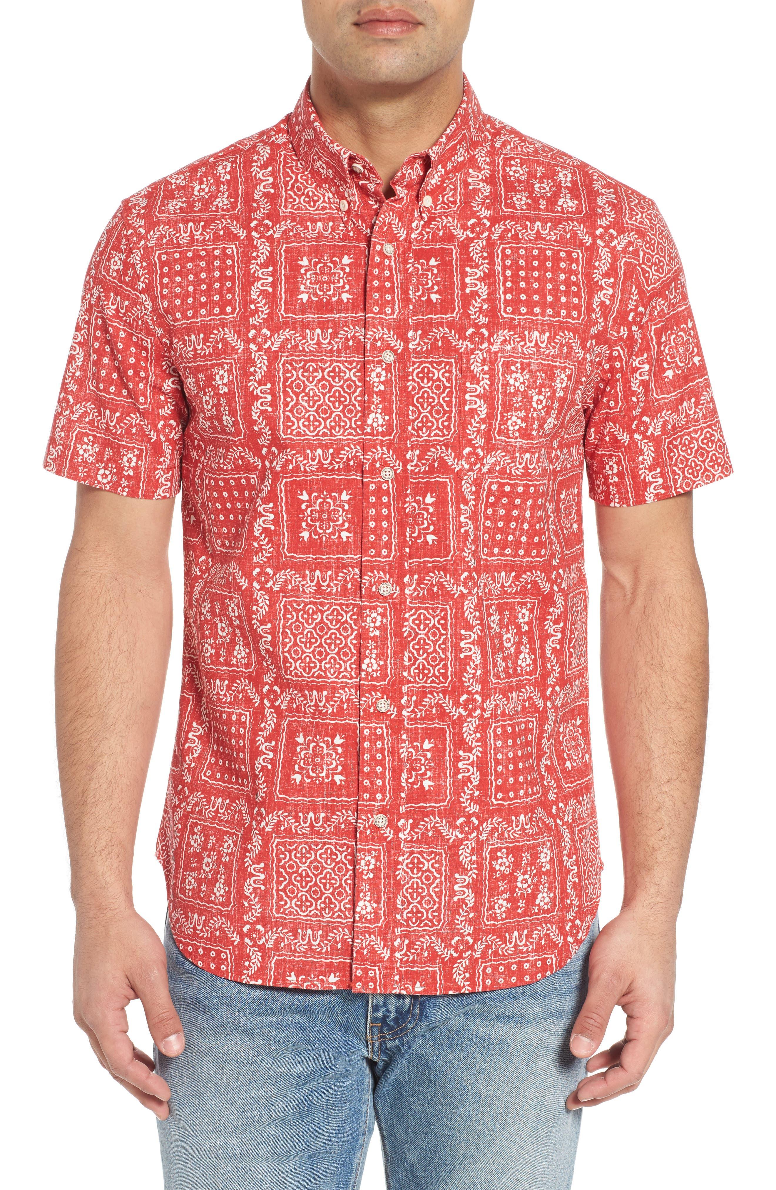 Lahaina Sailor Tailored Fit Sport Shirt,                             Main thumbnail 1, color,                             Cherry