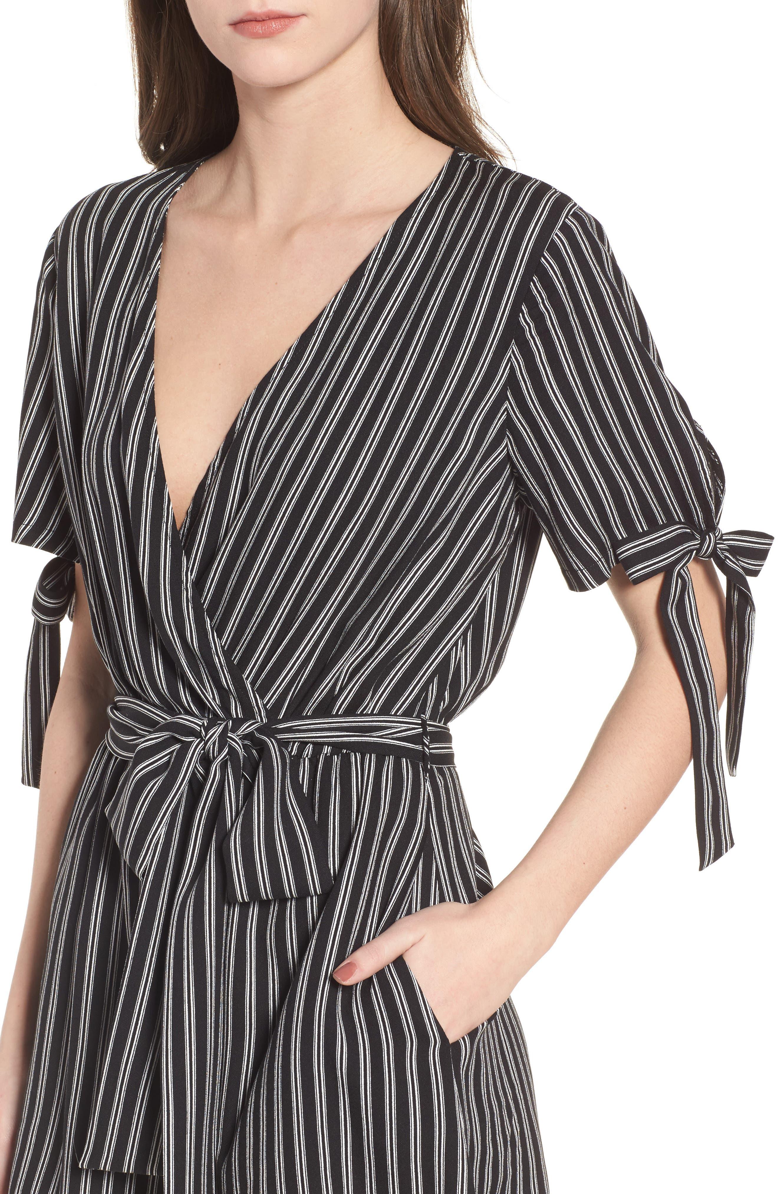 Faux Wrap Tie Sleeve Romper,                             Alternate thumbnail 4, color,                             Black White Stripe