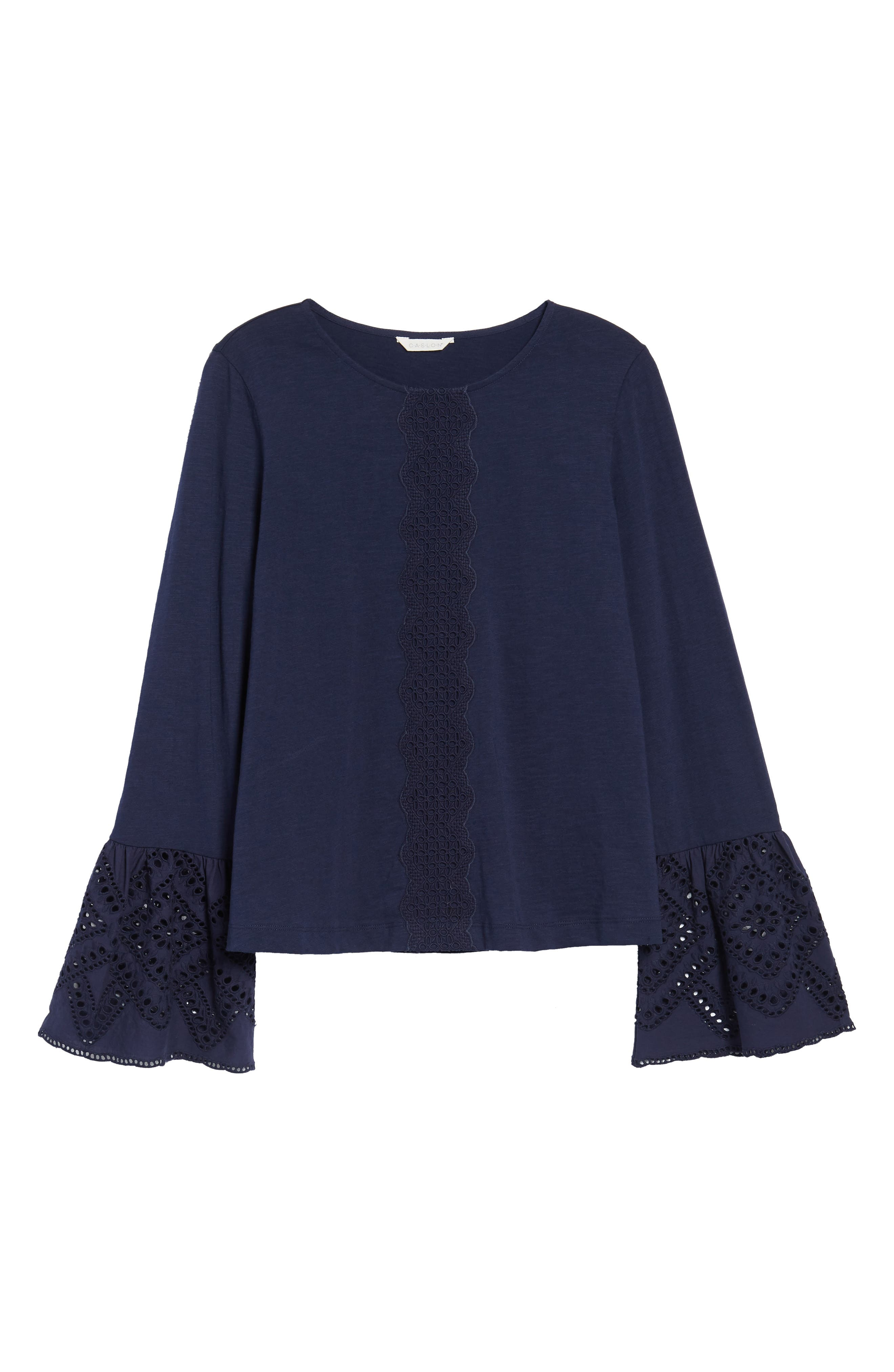 Eyelet Bell Sleeve Top,                             Alternate thumbnail 6, color,                             Navy Peacoat