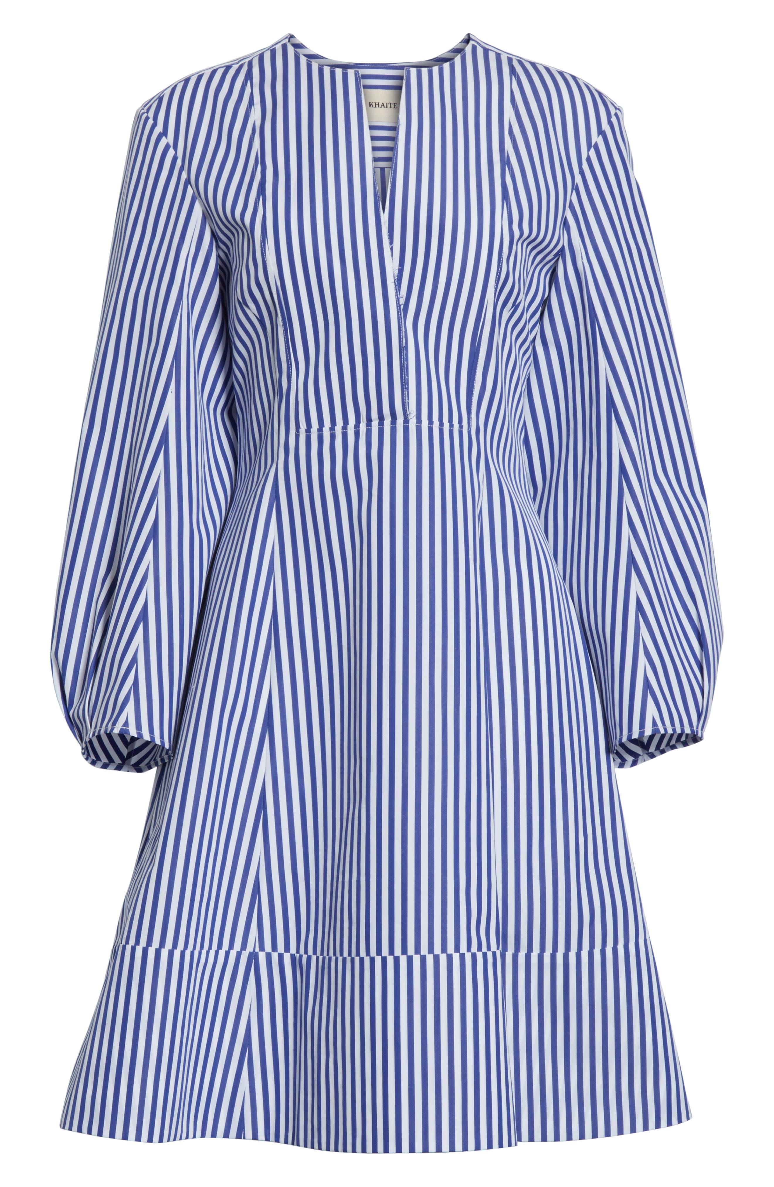 Alternate Image 6  - KHAITE Vanessa Stripe Poplin Minidress