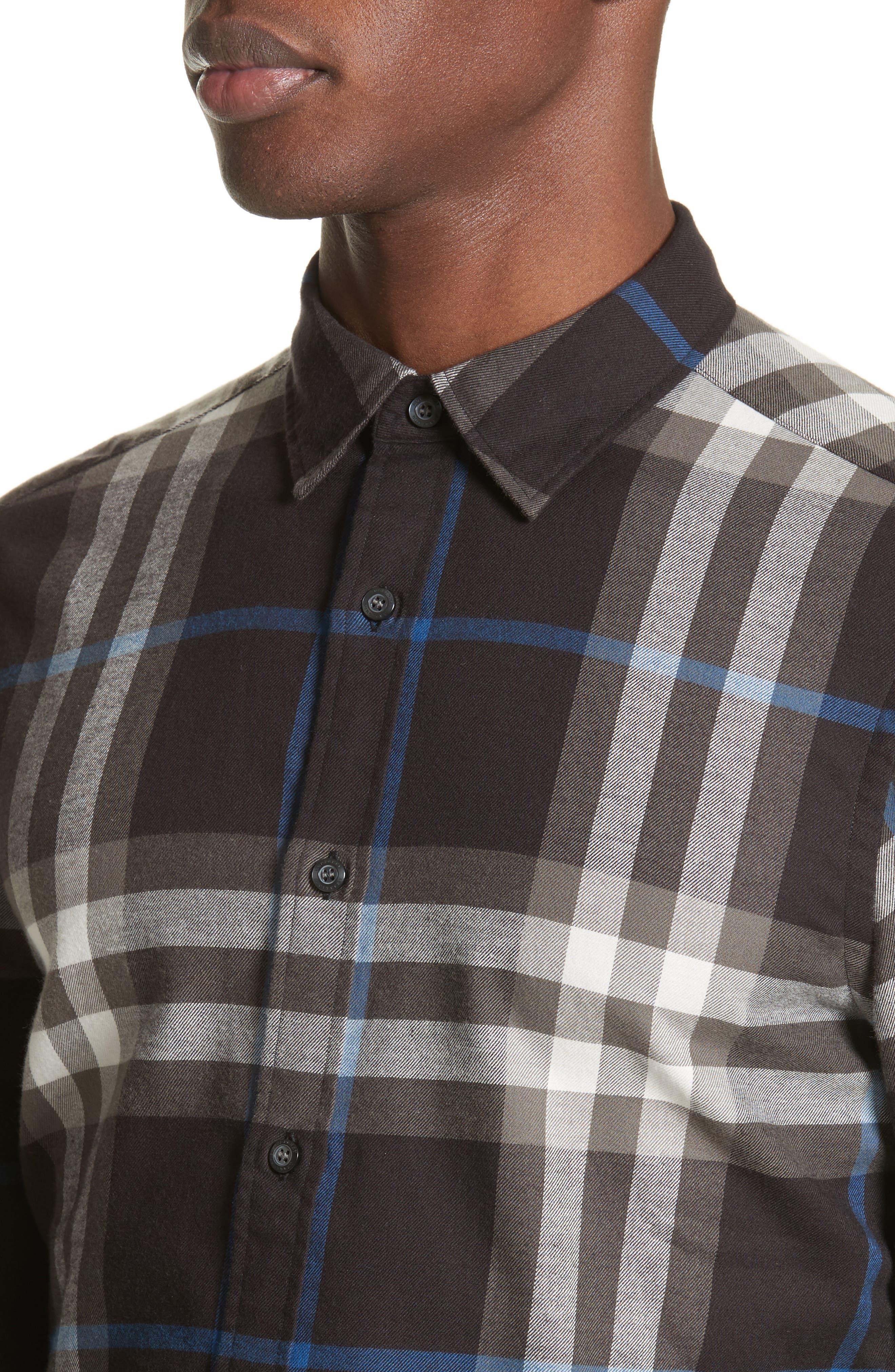 Salwick Slim Fit Sport Shirt,                             Alternate thumbnail 4, color,                             Black