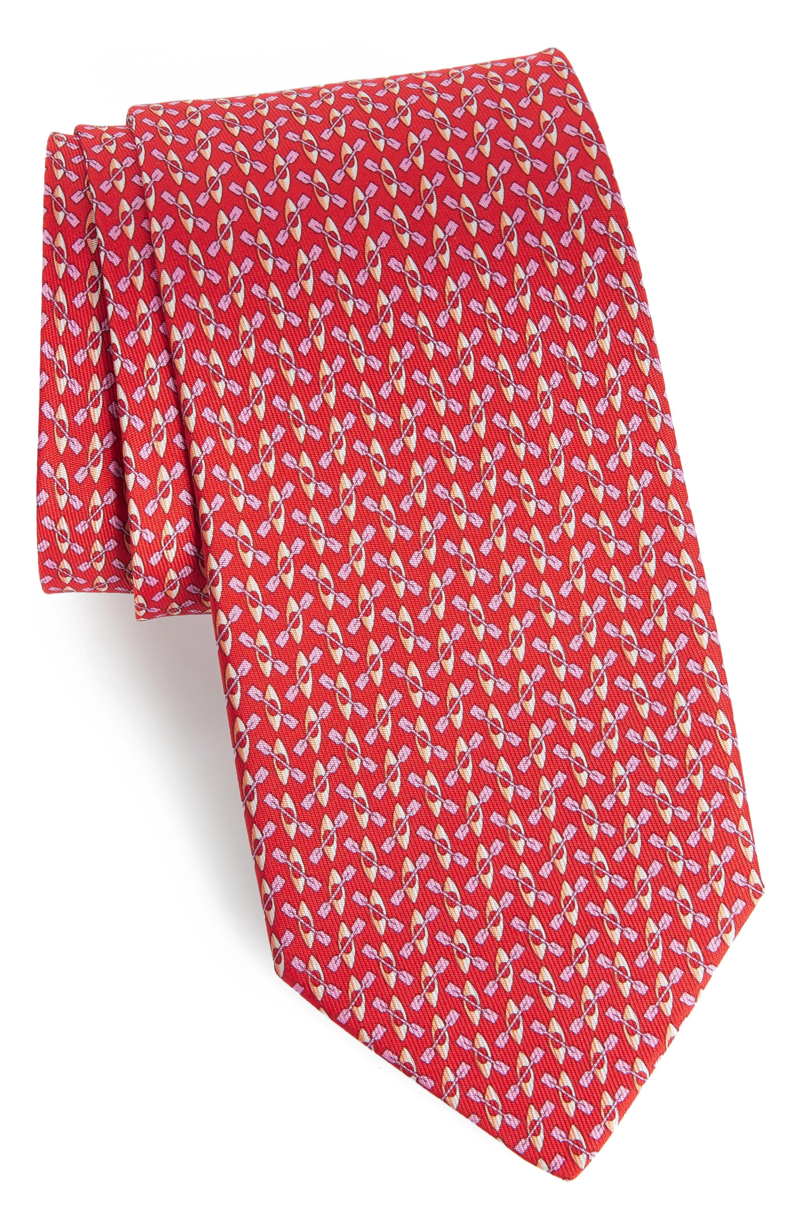 Elias Print Silk Tie,                             Main thumbnail 1, color,                             Red