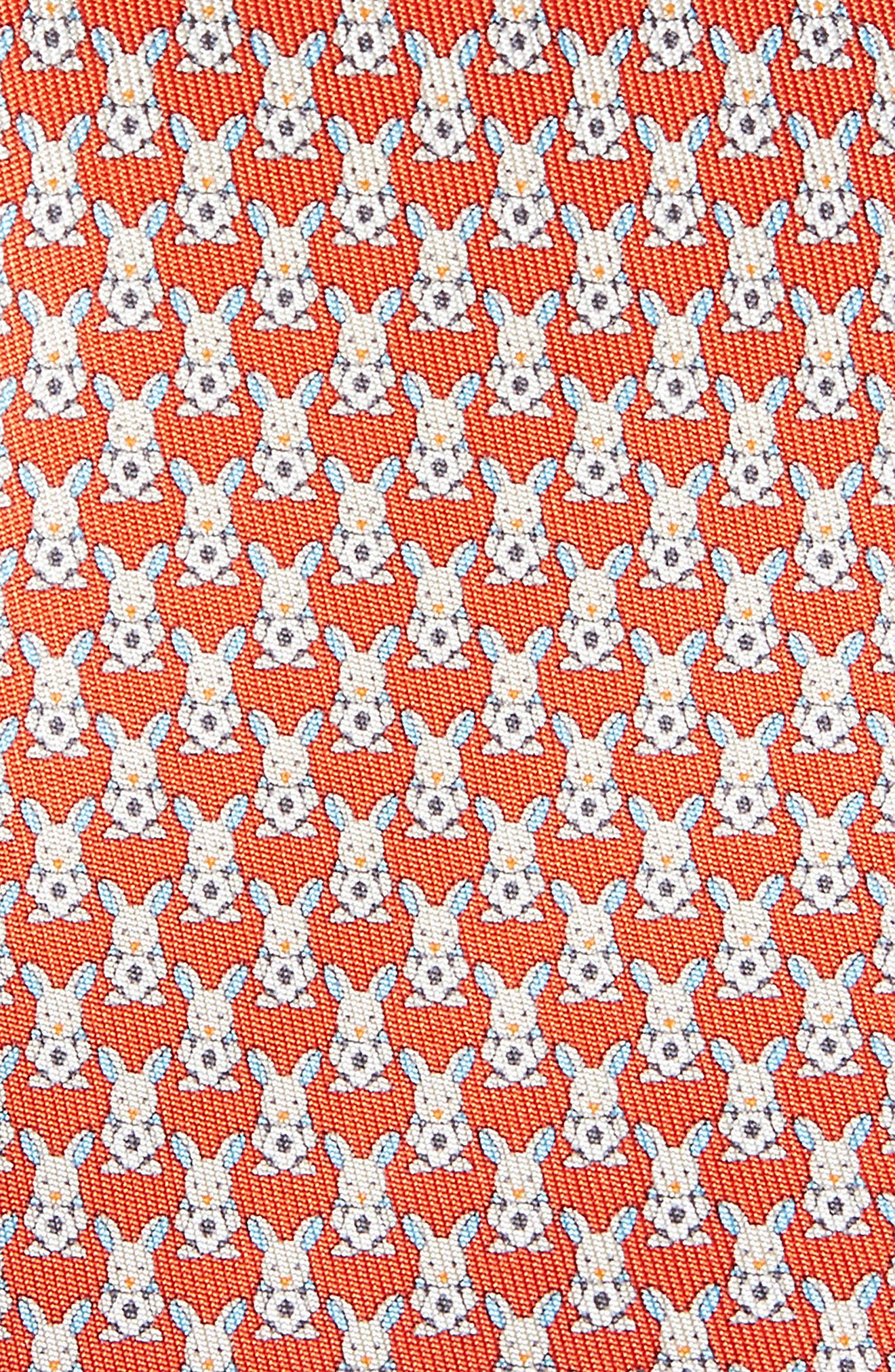 Errico Bunny Print Silk Tie,                             Alternate thumbnail 2, color,                             Red