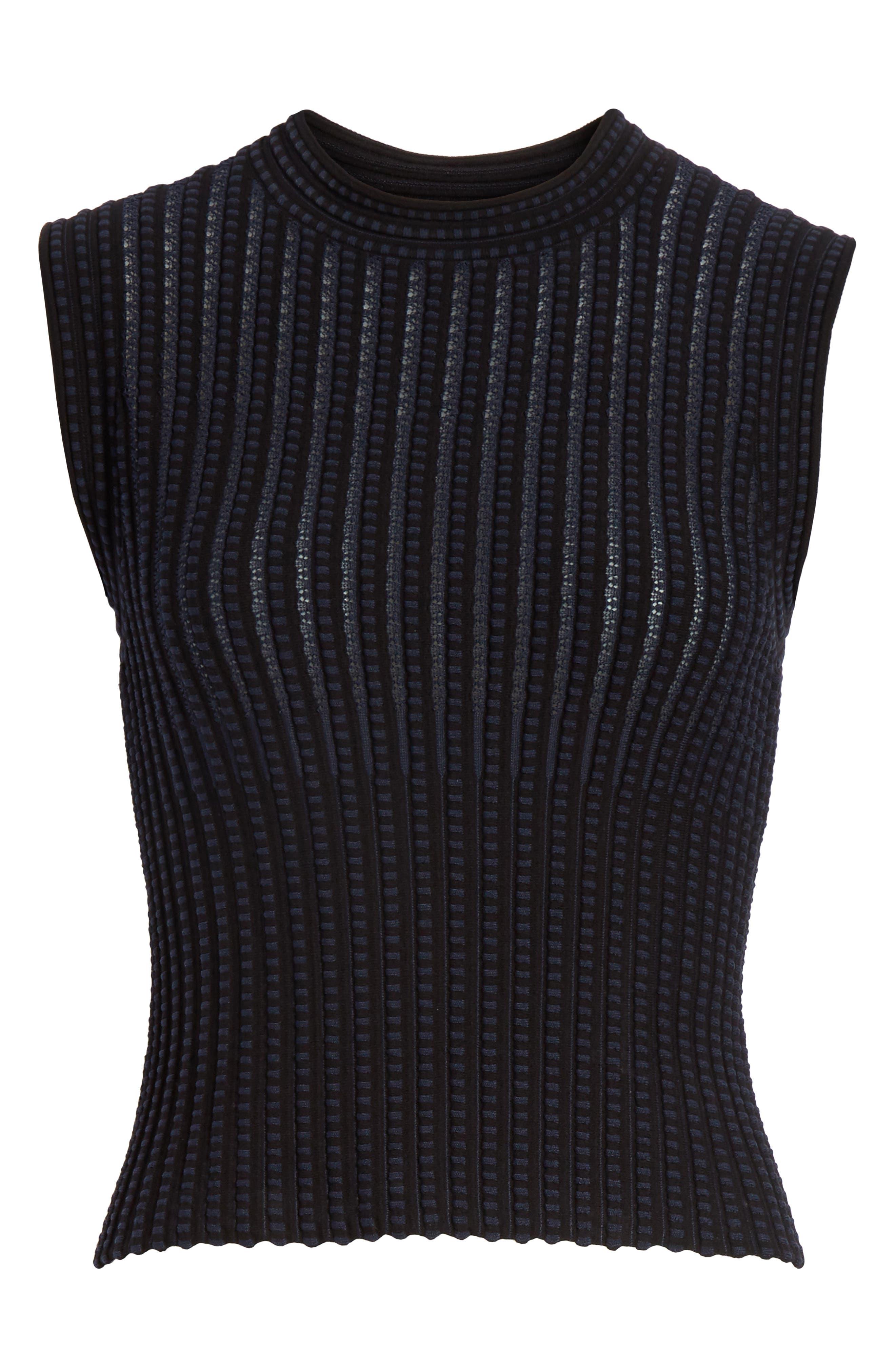 Check Pattern Knit Shell,                             Alternate thumbnail 6, color,                             Black/ Deep Navy