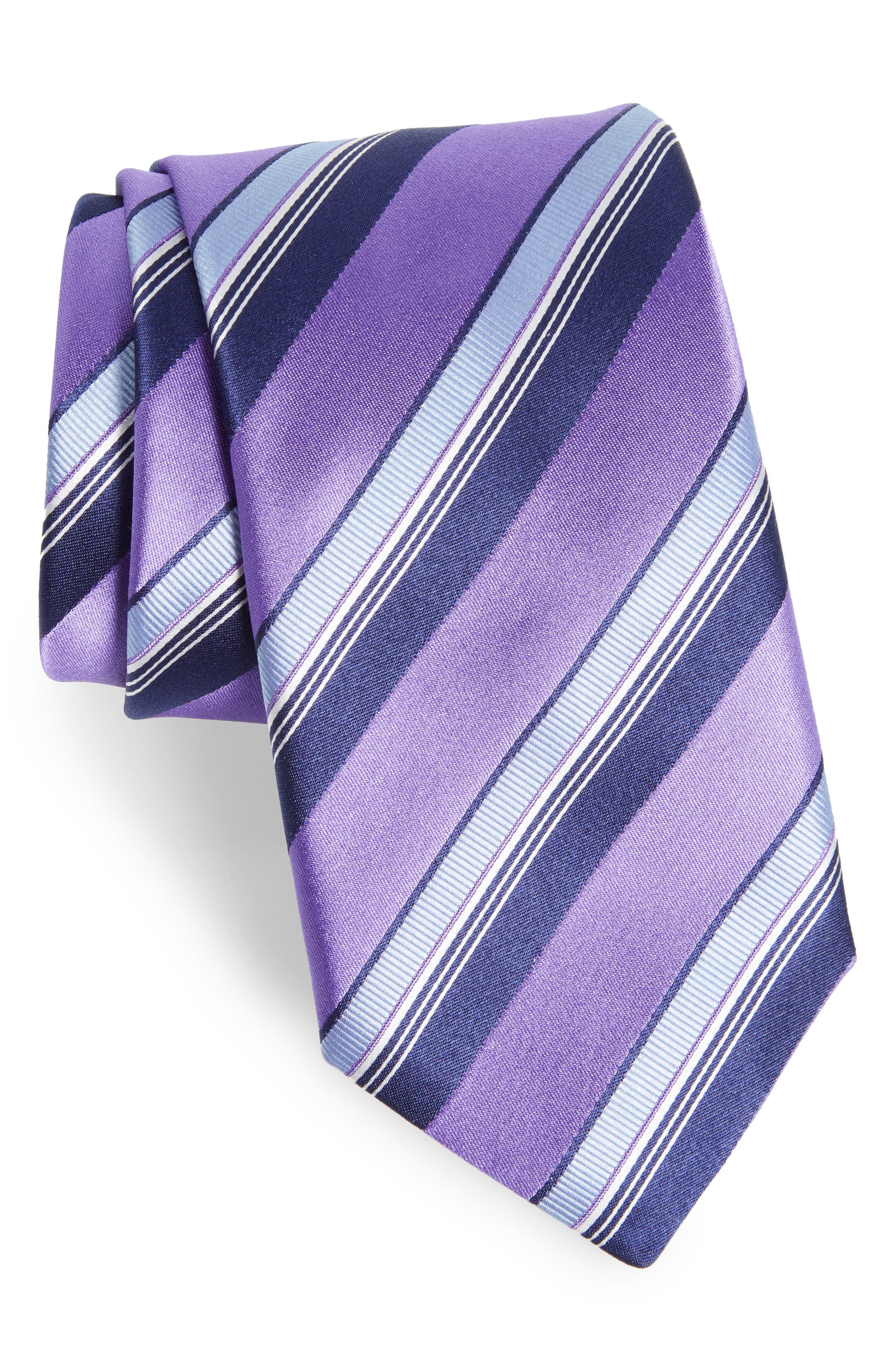 Stripe Silk Tie,                             Main thumbnail 1, color,                             Purple