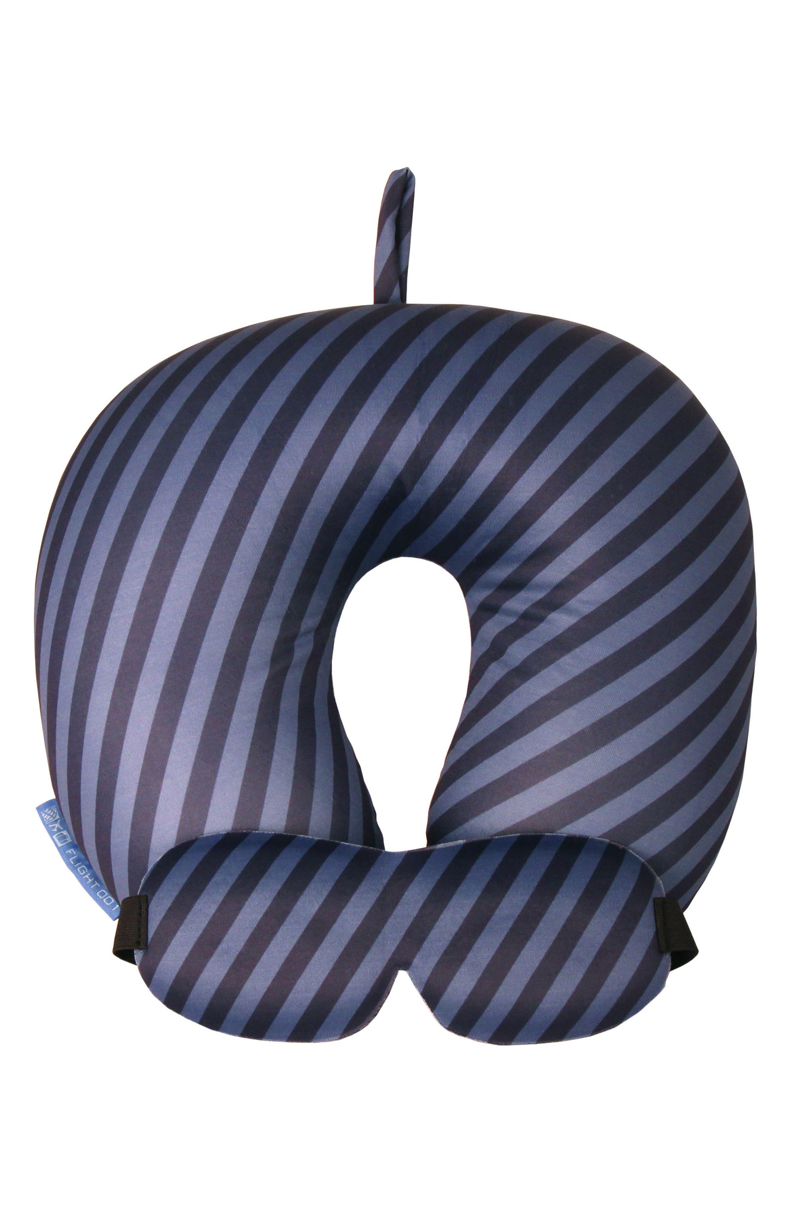 Neck Pillow & Eye Mask Set,                         Main,                         color, Mailstripe Indigo