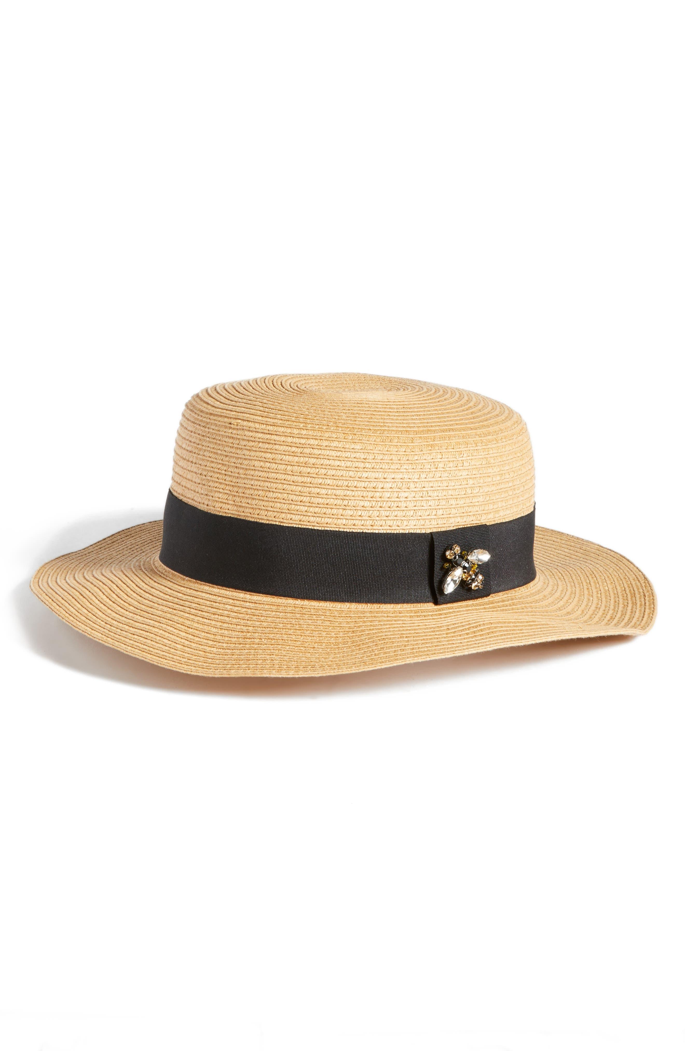 Straw Boater Hat,                         Main,                         color, Tan Dark Natural