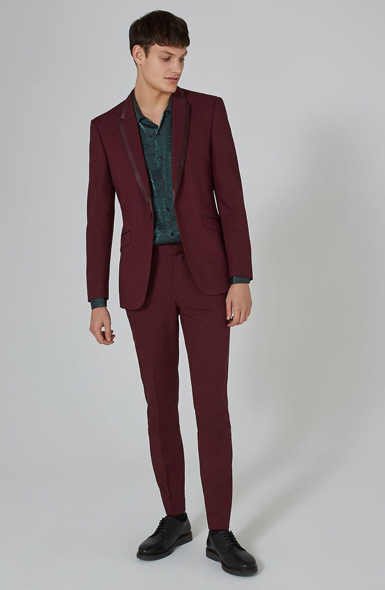 Skinny Fit Burgundy Tuxedo Jacket,                             Alternate thumbnail 2, color,                             Burgundy