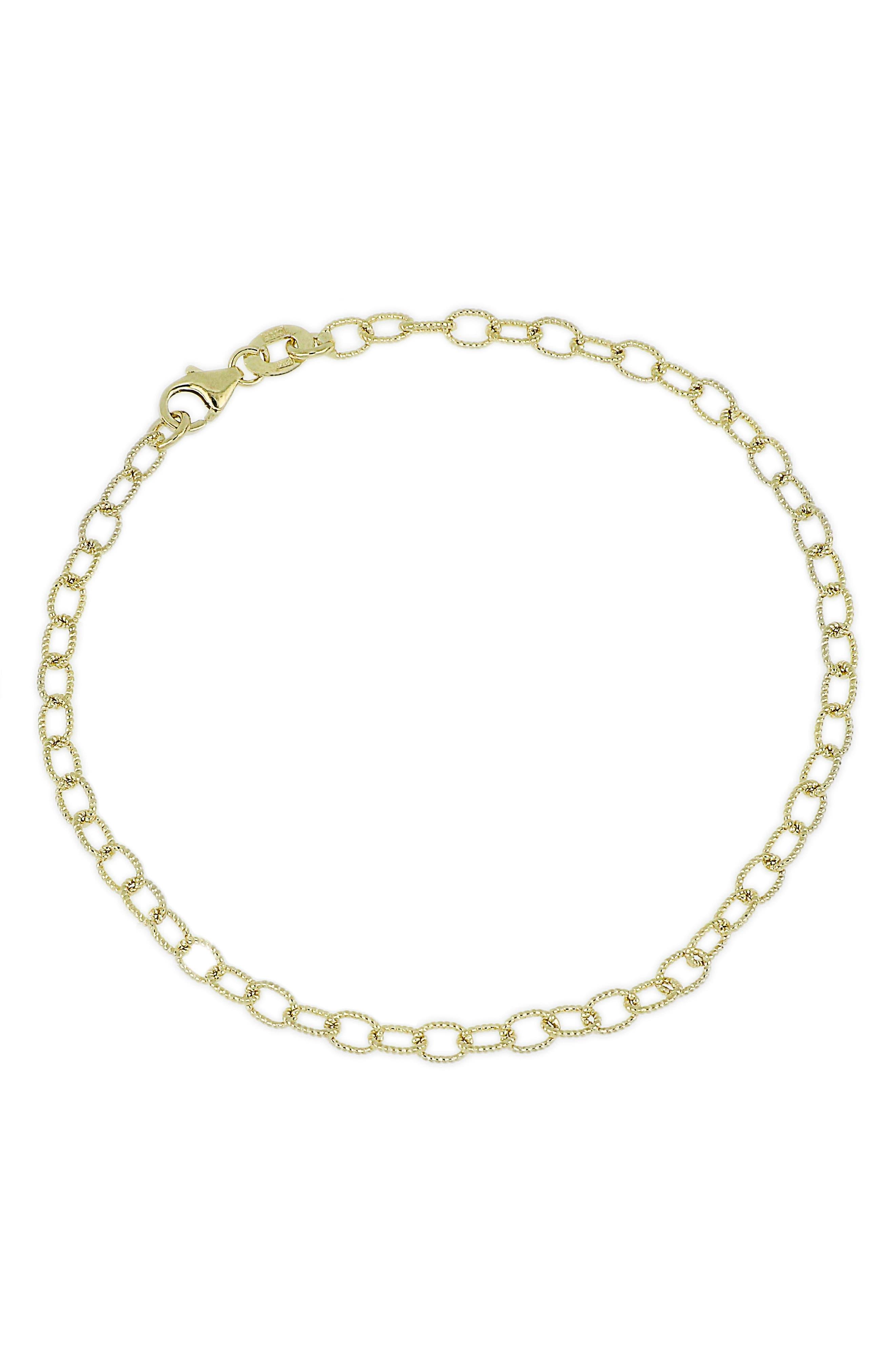 14k Gold Link Charm Bracelet,                         Main,                         color, Yellow Gold