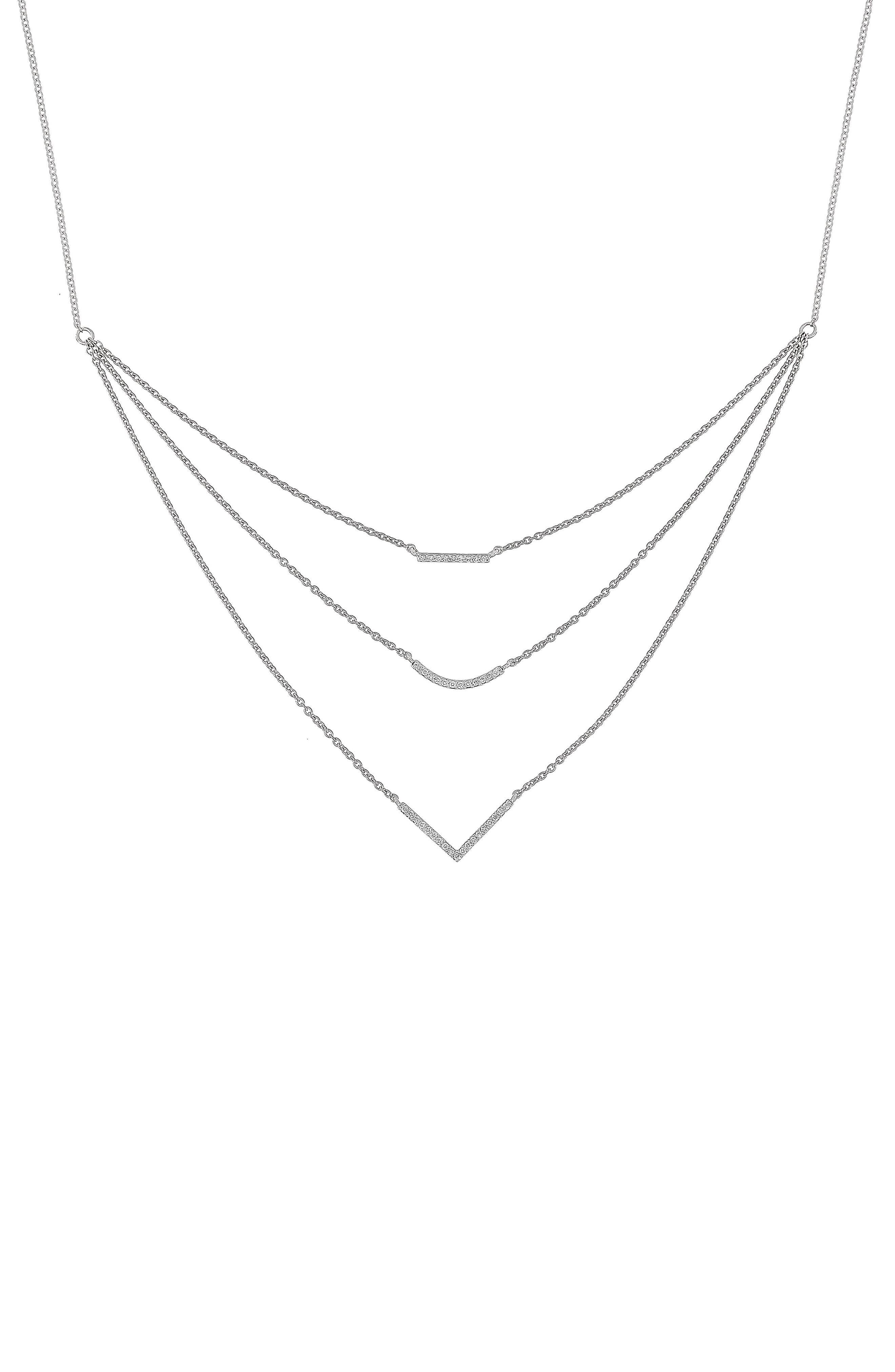 Multistrand Diamond Pendant Necklace,                         Main,                         color, White Gold
