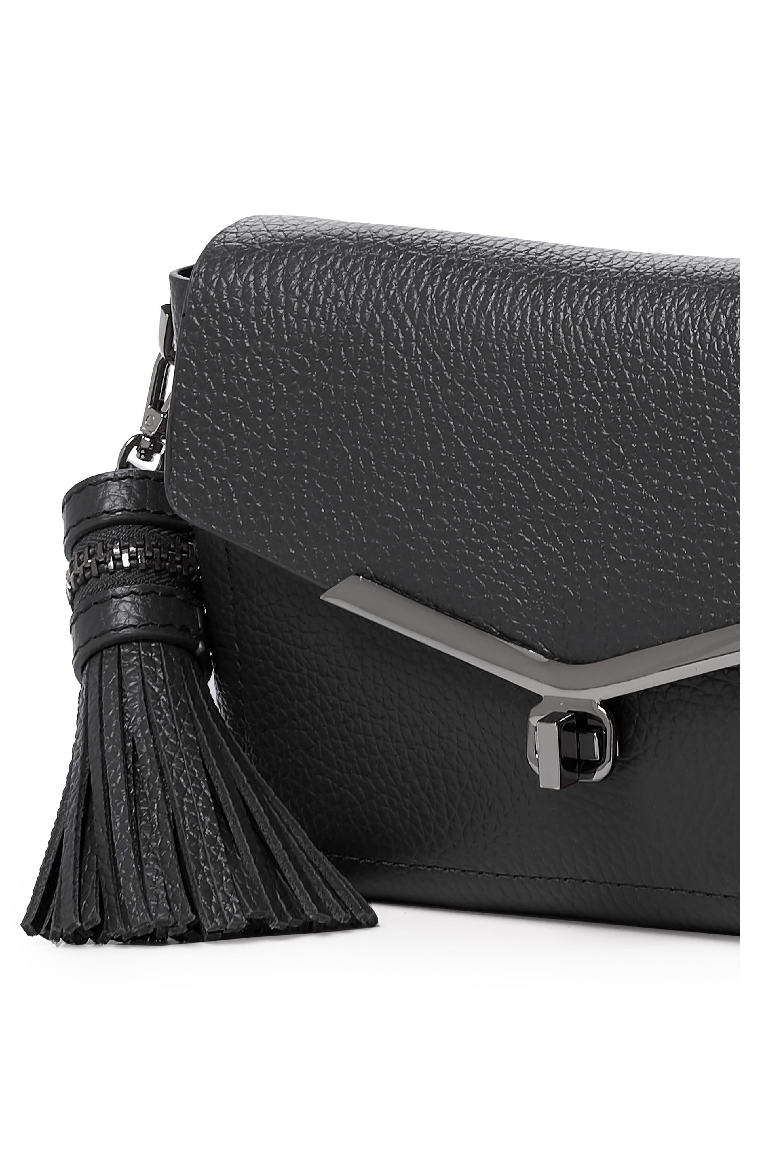Vivi Leather Crossbody Bag,                             Alternate thumbnail 4, color,                             Black