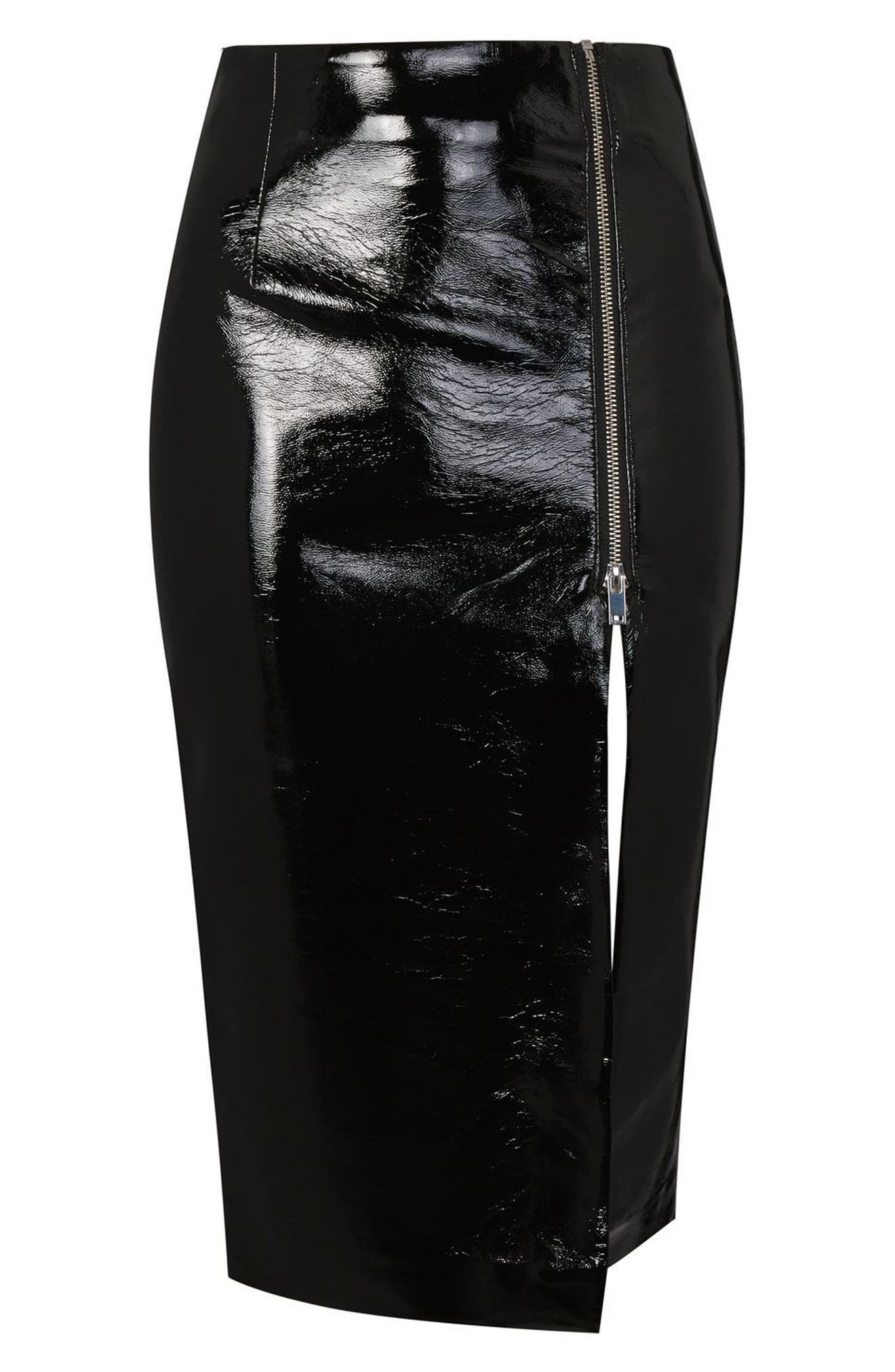 Split Vinyl Pencil Skirt,                             Alternate thumbnail 4, color,                             Black