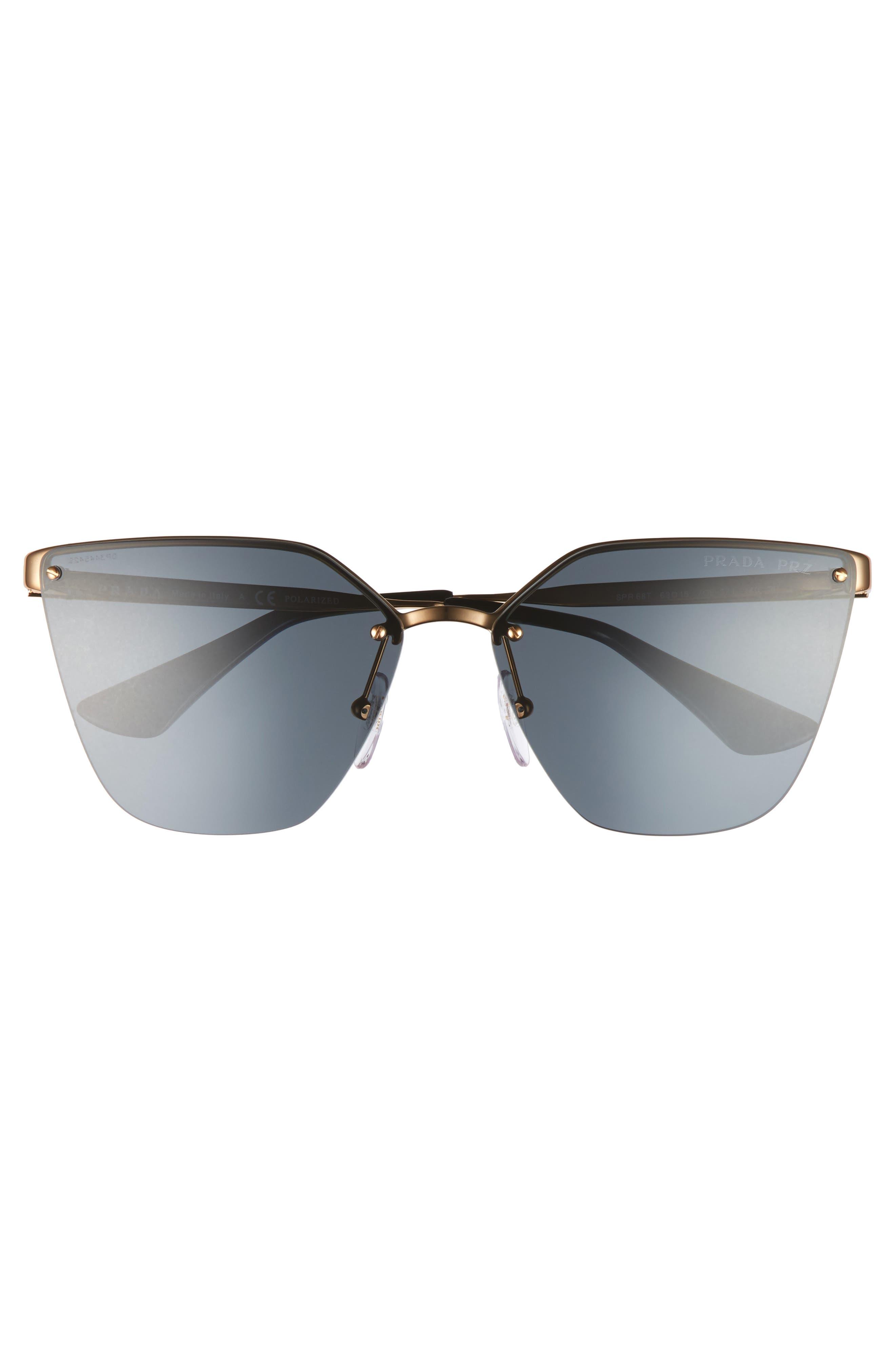 63mm Oversize Rimless Sunglasses,                             Alternate thumbnail 3, color,                             Black/ Green