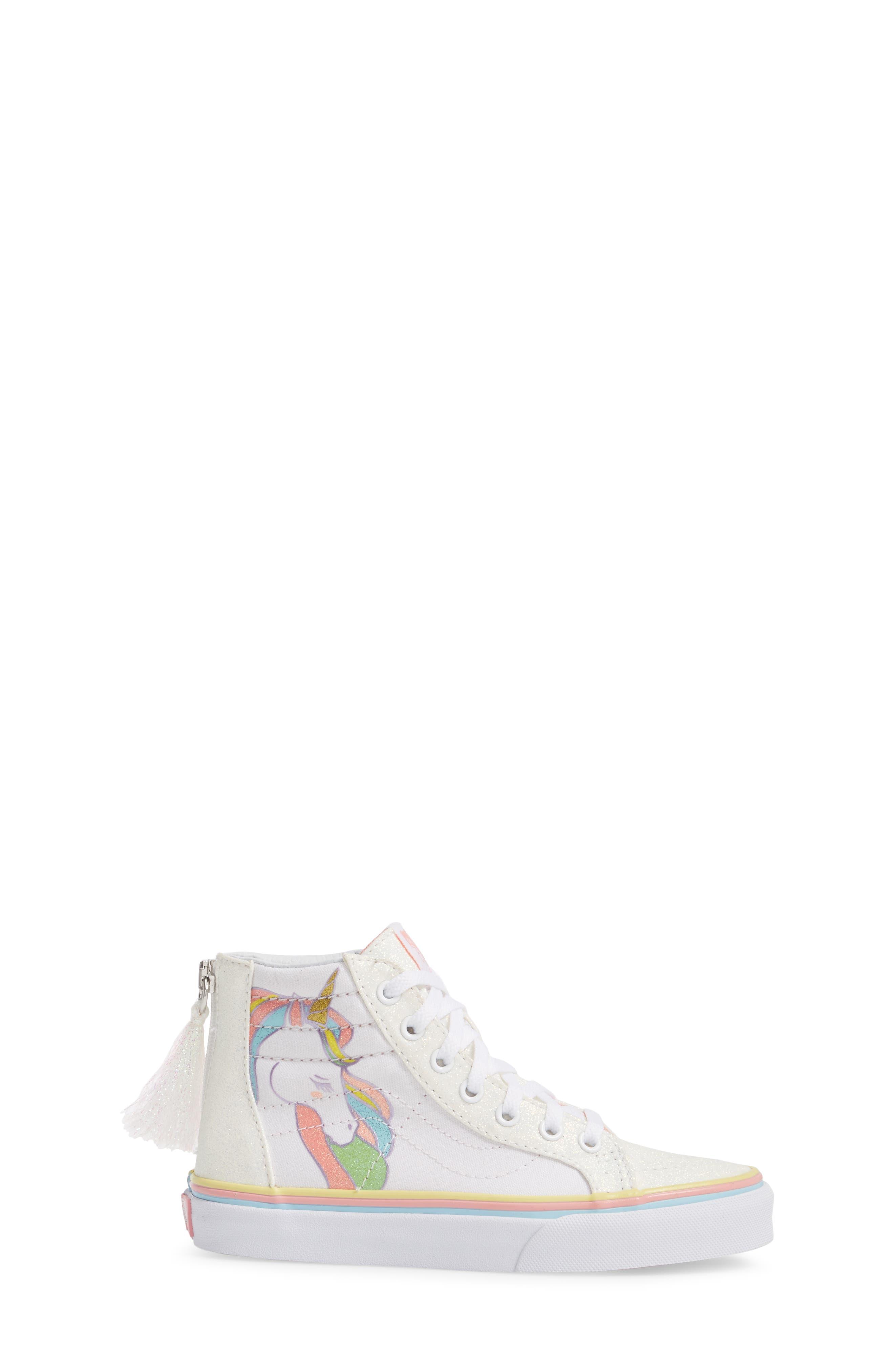 Sk8-Hi Zip Unicorn Glitter High Top Sneaker,                             Alternate thumbnail 3, color,                             White Glitter Unicorn