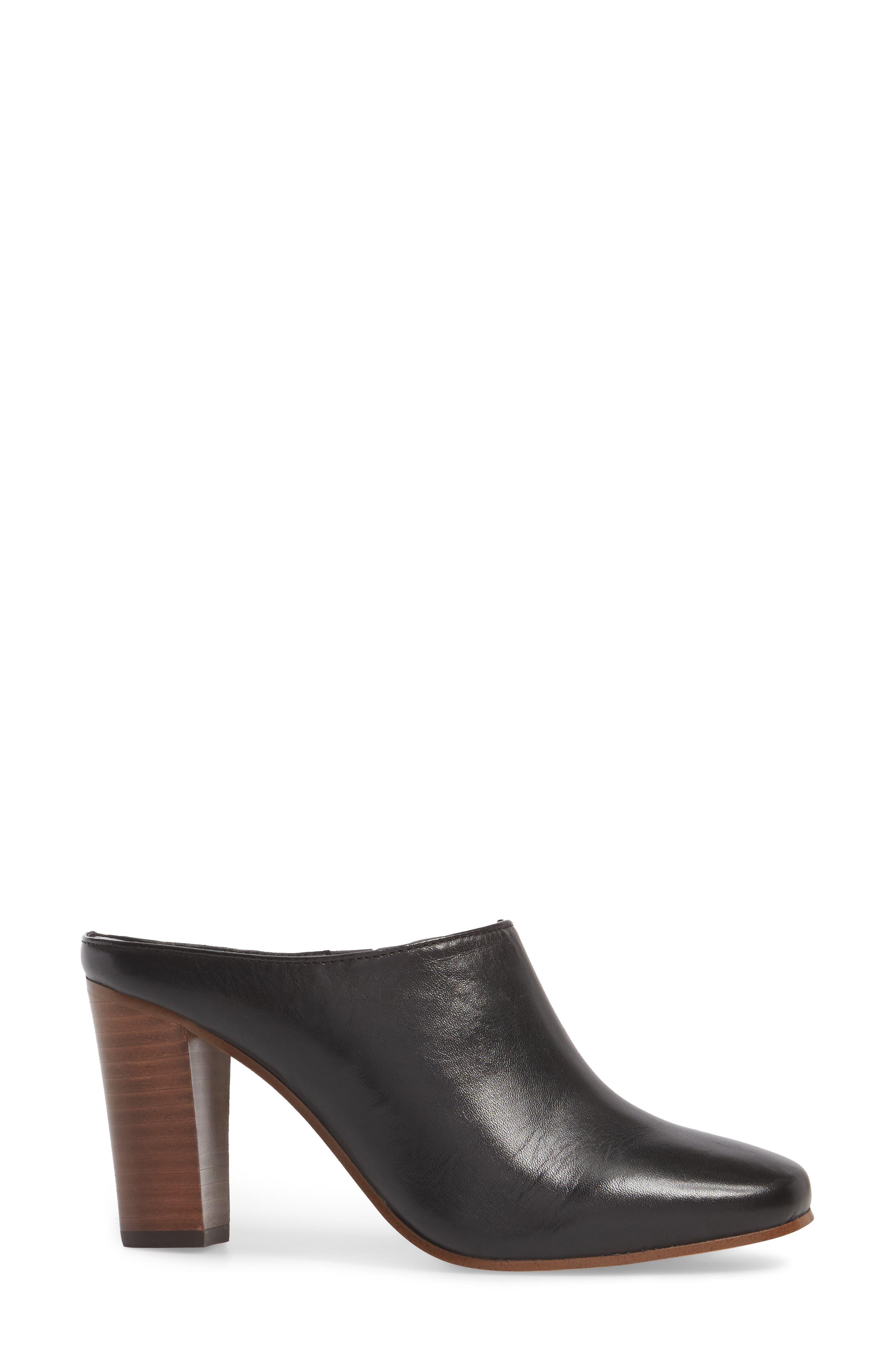 Sherry Mule,                             Alternate thumbnail 3, color,                             Black Nappa Leather