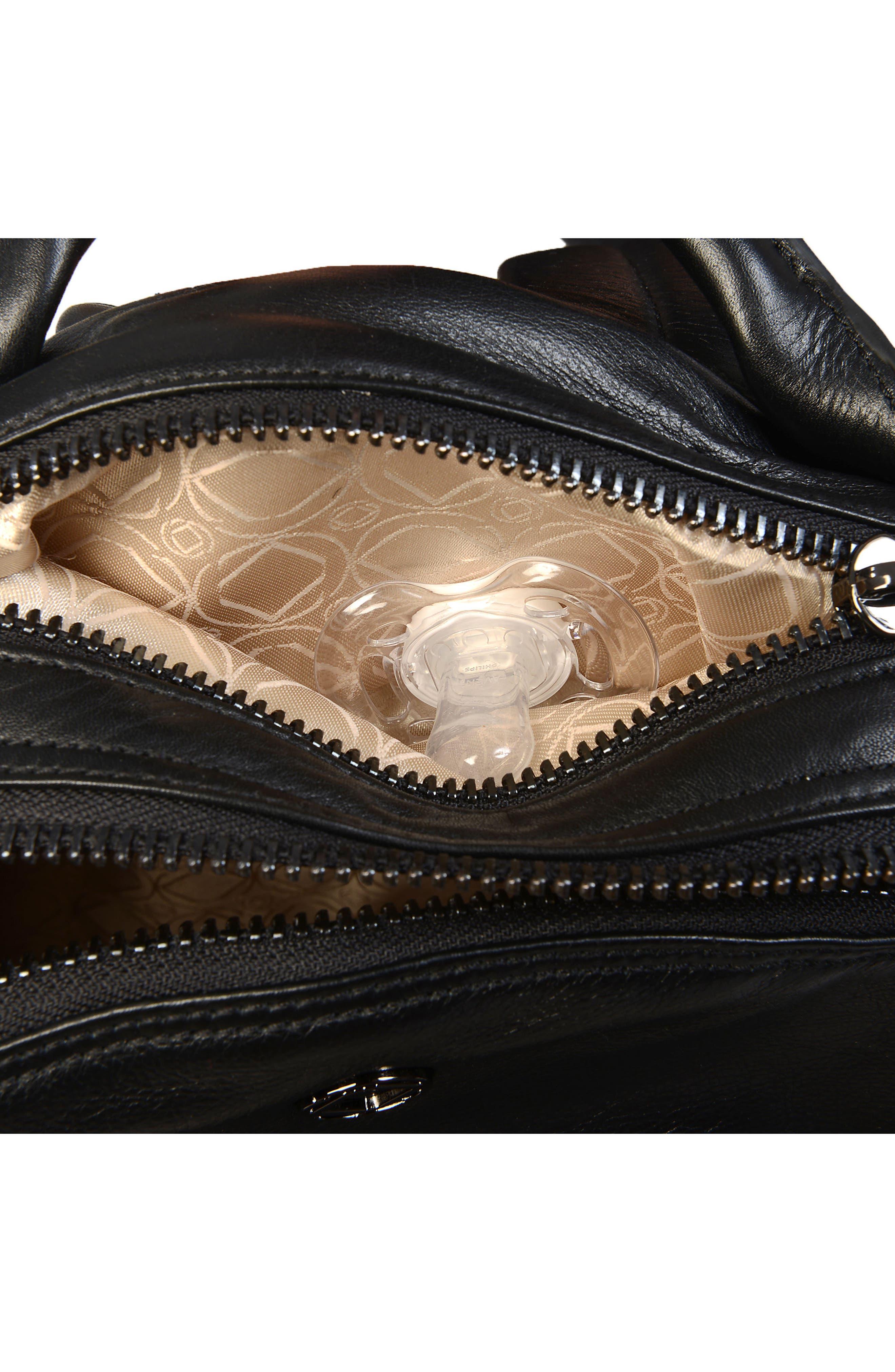Joy XL Leather Backpack,                             Alternate thumbnail 11, color,                             Black