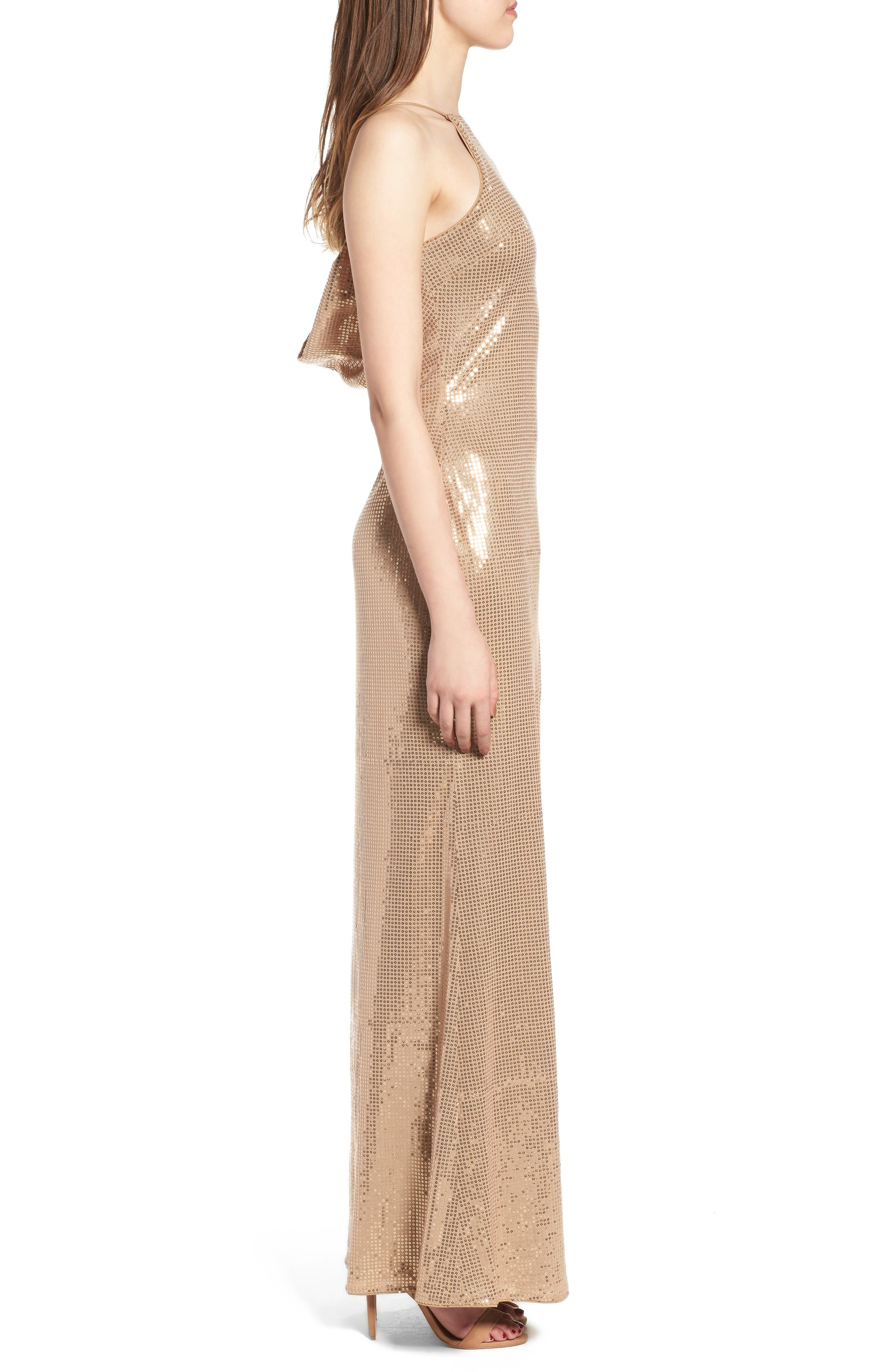 Jacket Halter Gown,                             Alternate thumbnail 3, color,                             Taupe