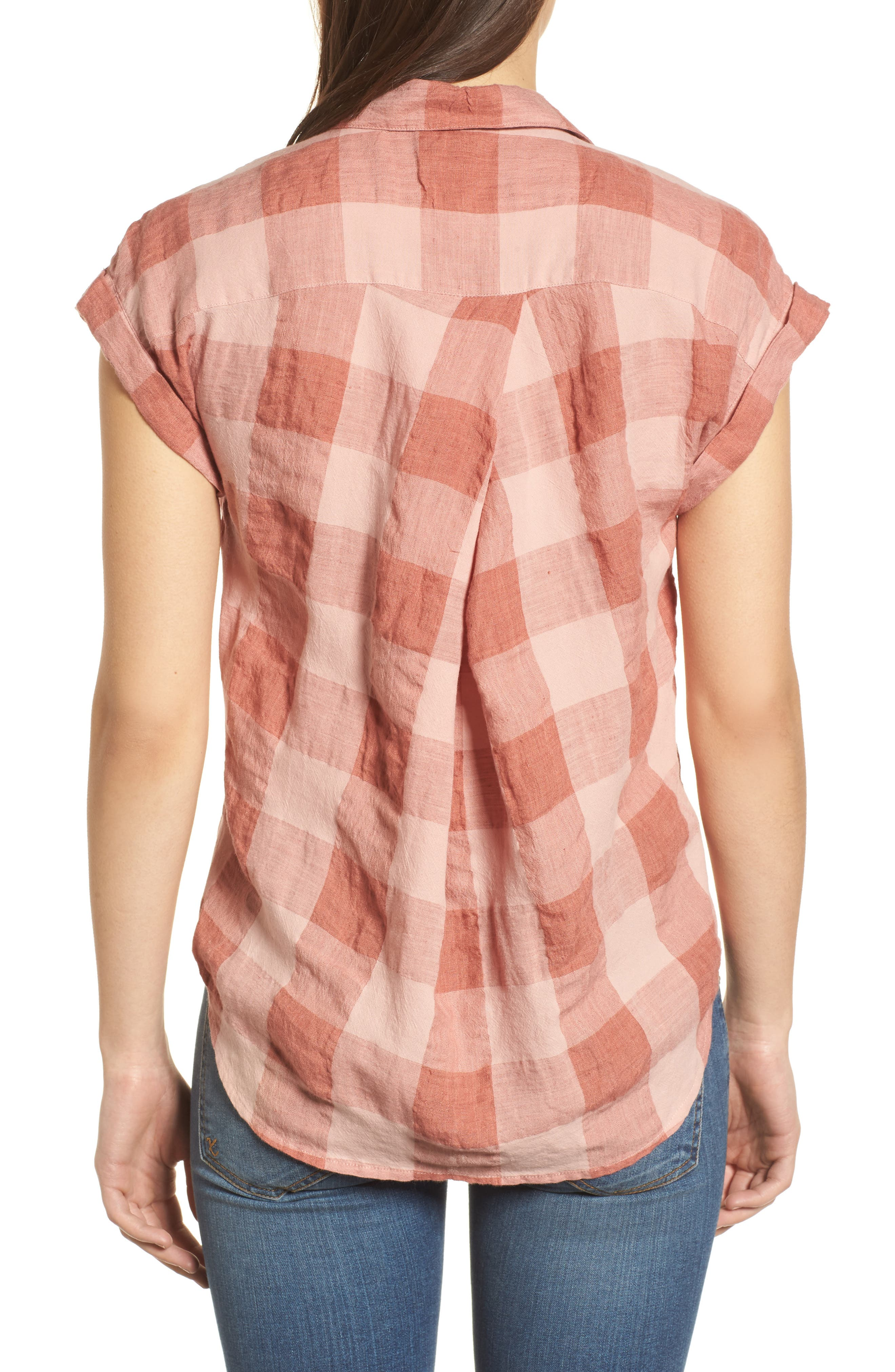 Plaid Short Sleeve High/Low Top,                             Alternate thumbnail 2, color,                             Pink Multi