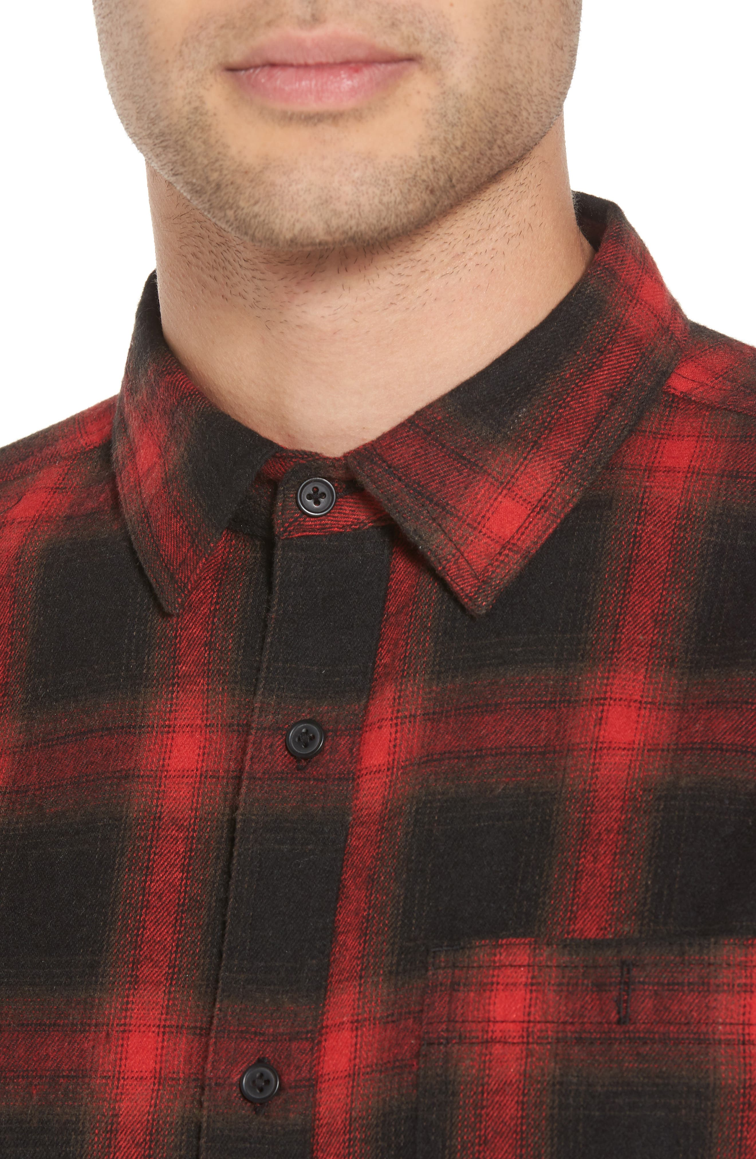 Shredded Plaid Flannel Shirt,                             Alternate thumbnail 4, color,                             Black Rock Red Ombre Check