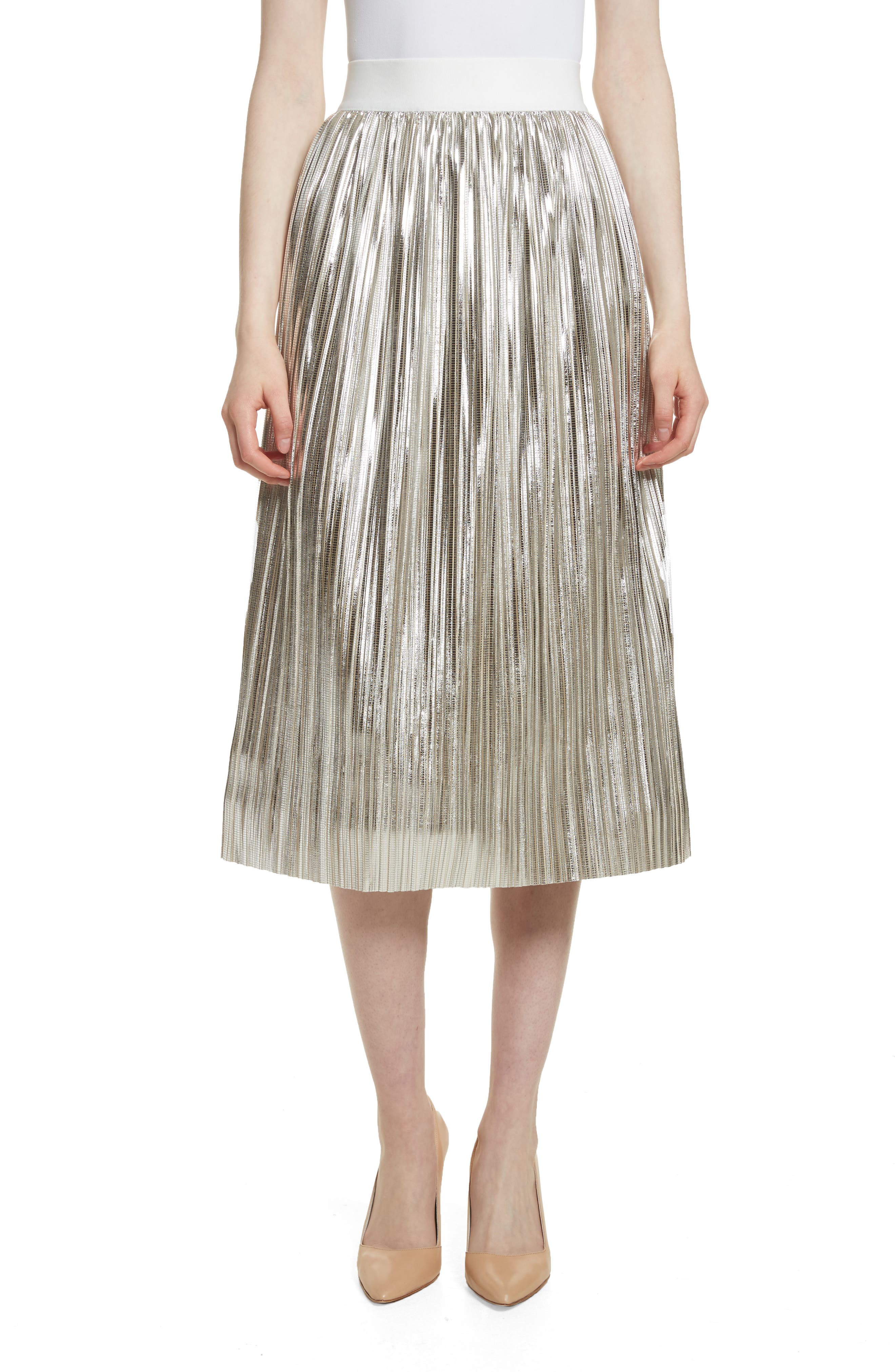 Mikaela Pleat Metallic Skirt,                         Main,                         color, Silver Metallic