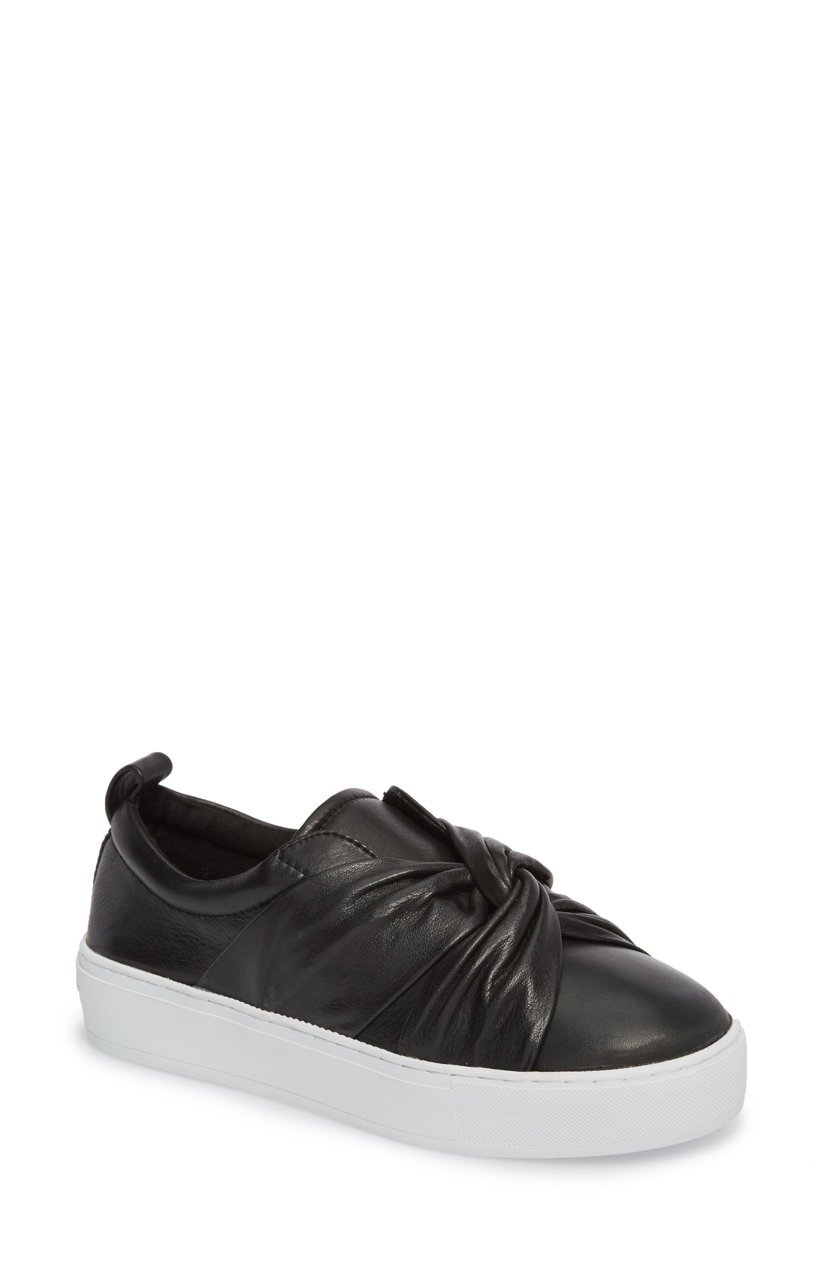 Nicole Platform Sneaker,                         Main,                         color, Black Leather