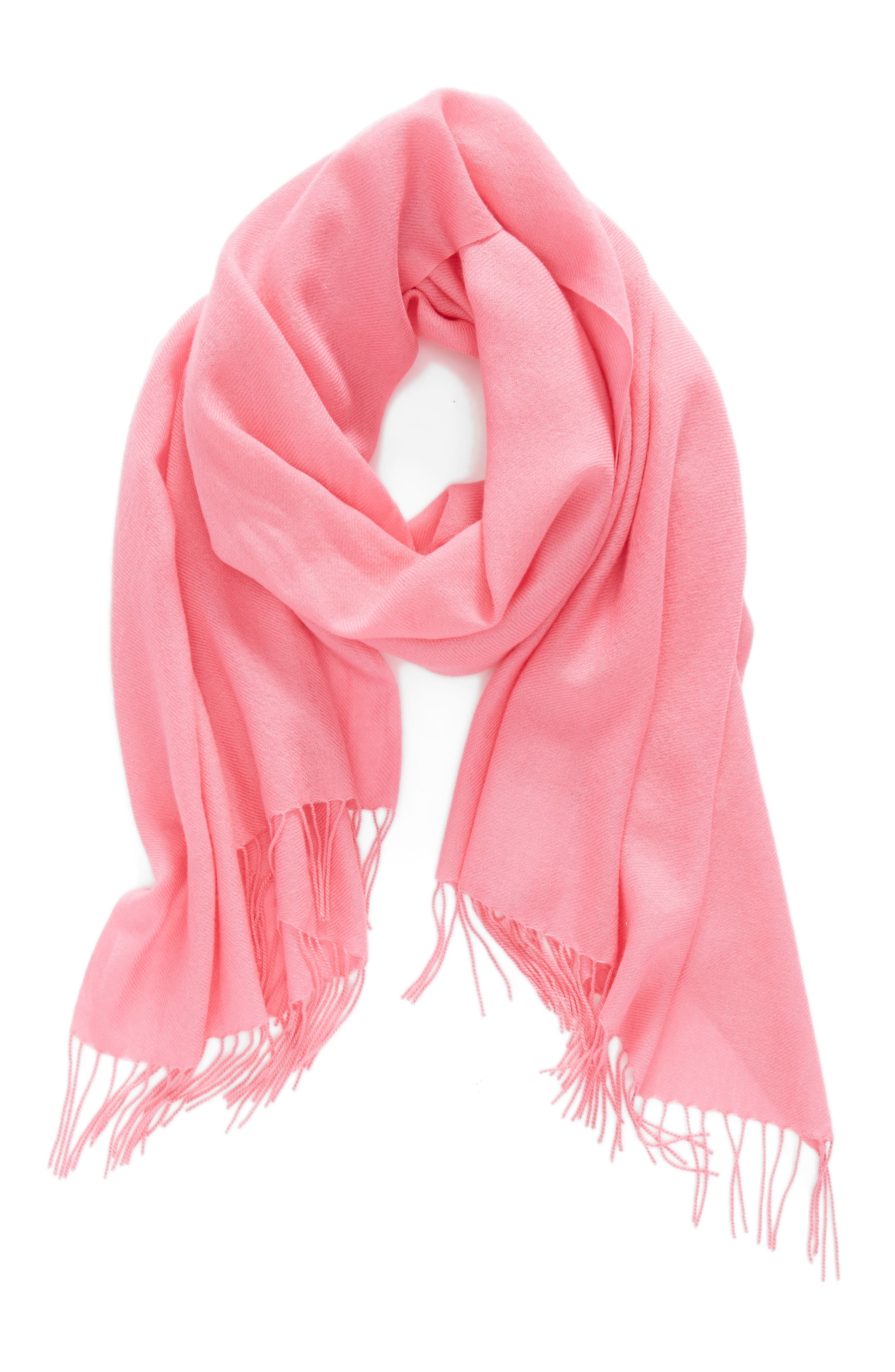 Tissue Weight Wool &Cashmere Scarf,                             Alternate thumbnail 2, color,                             Pink Zenna