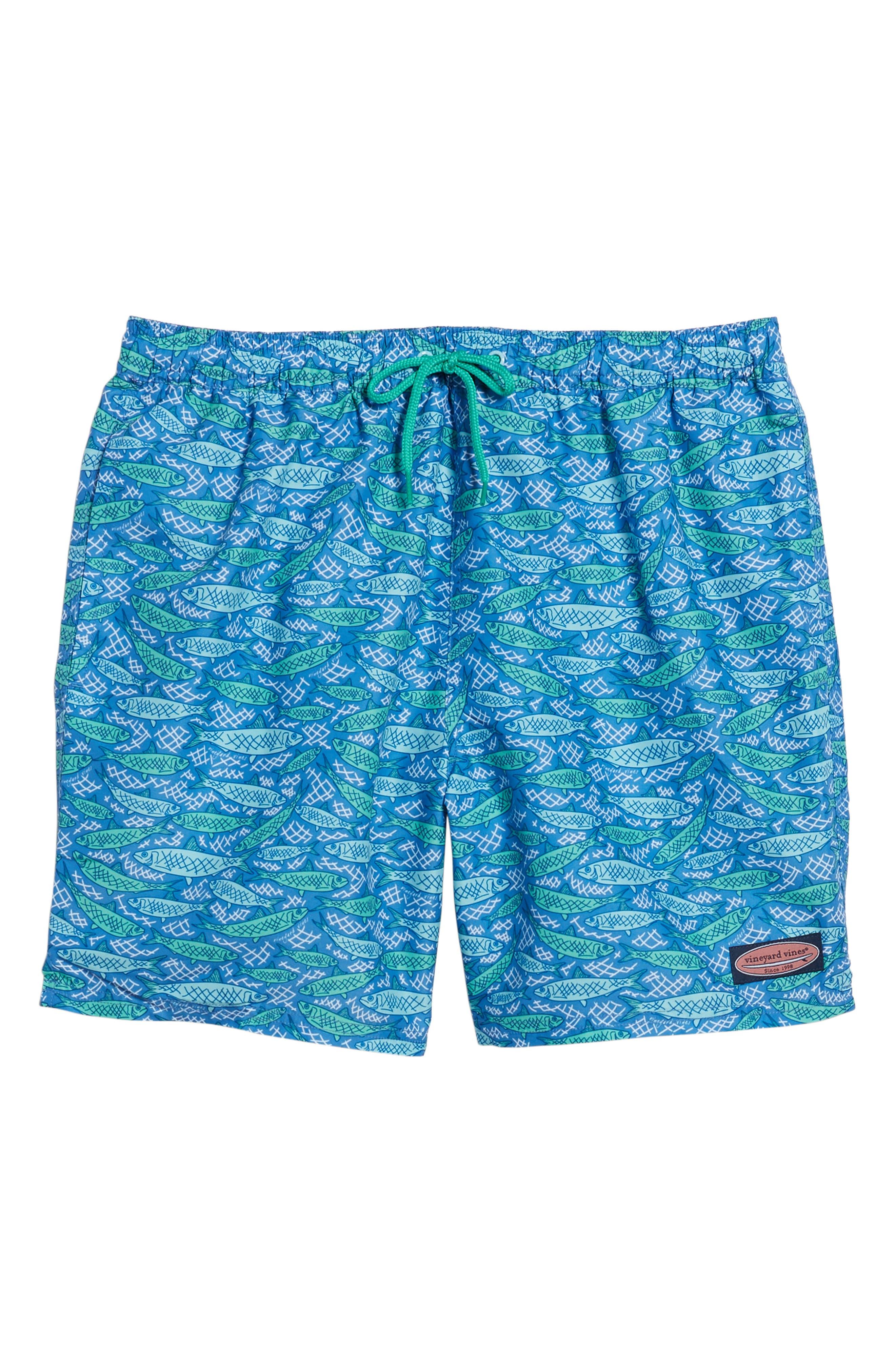 Chappy Fish Scales Print Swim Trunks,                             Alternate thumbnail 6, color,                             Harbor Cay