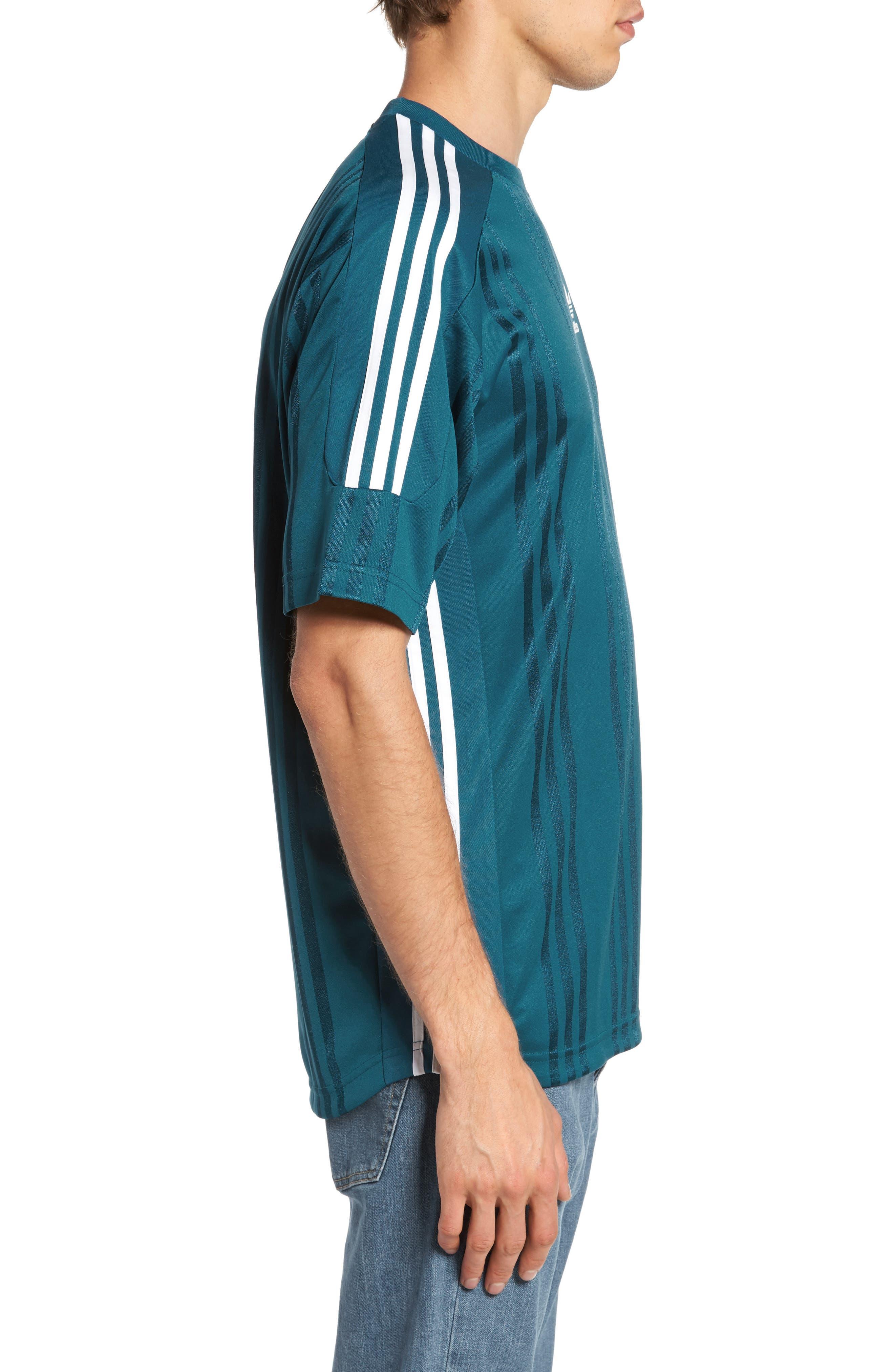 Originals Jacquard Stripe T-Shirt,                             Alternate thumbnail 3, color,                             Real Teal